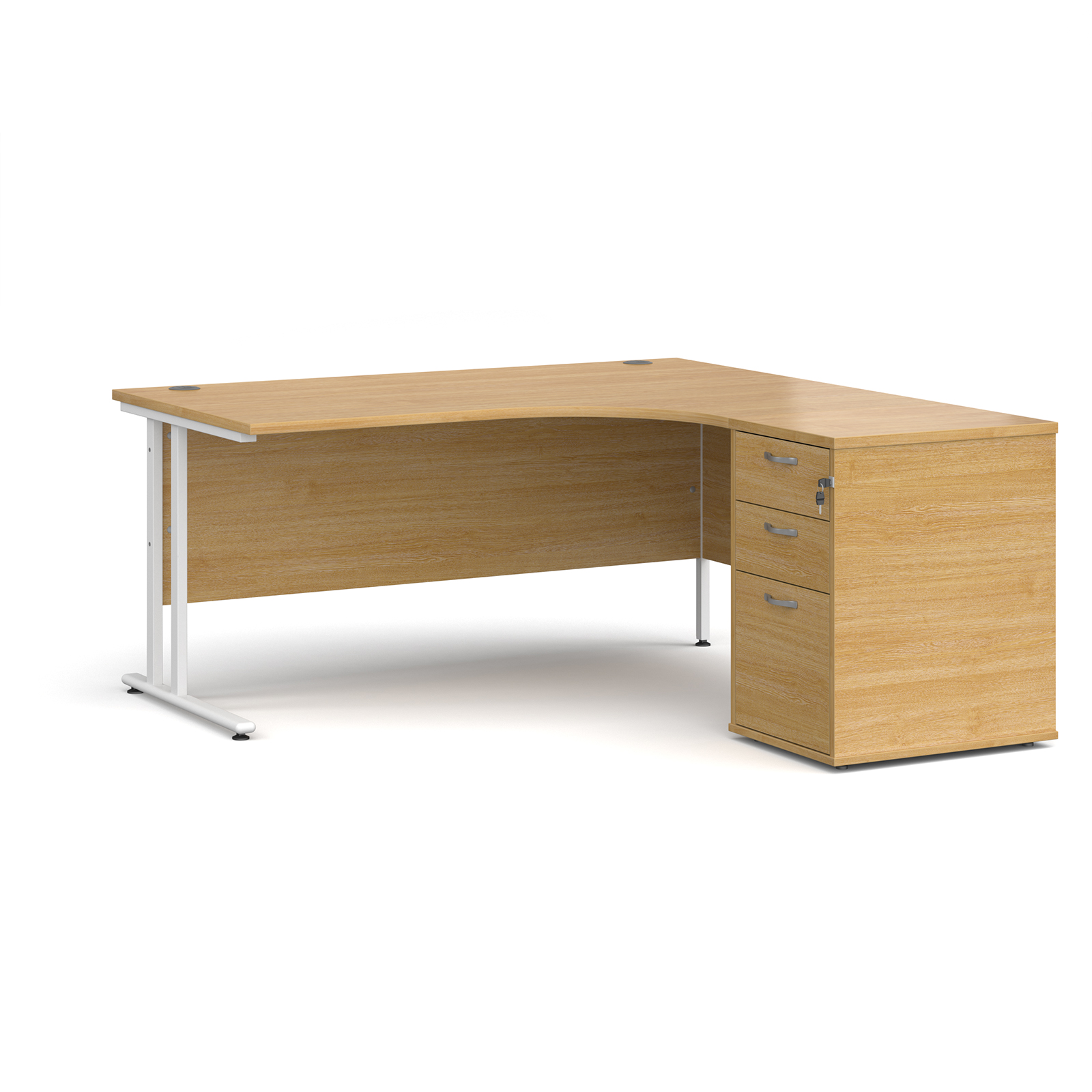 Right Handed Maestro 25 right hand ergonomic desk 1600mm with white cantilever frame and desk high pedestal - oak