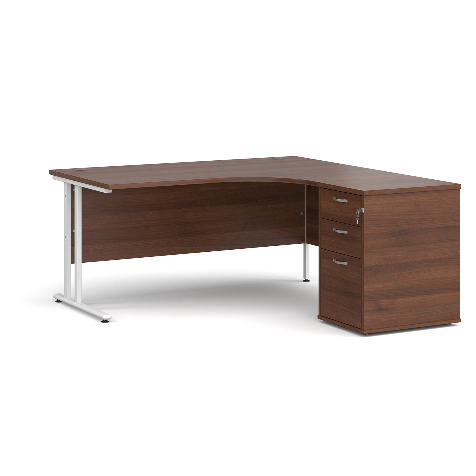 Right Handed Maestro 25 right hand ergonomic desk 1600mm with white cantilever frame and desk high pedestal - walnut