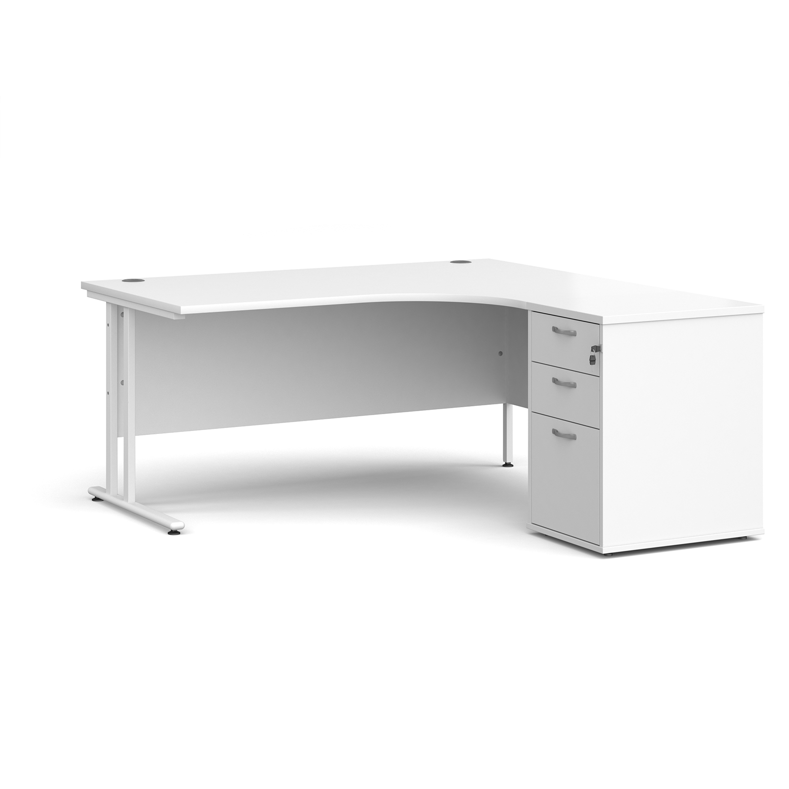 Right Handed Maestro 25 right hand ergonomic desk 1600mm with white cantilever frame and desk high pedestal - white