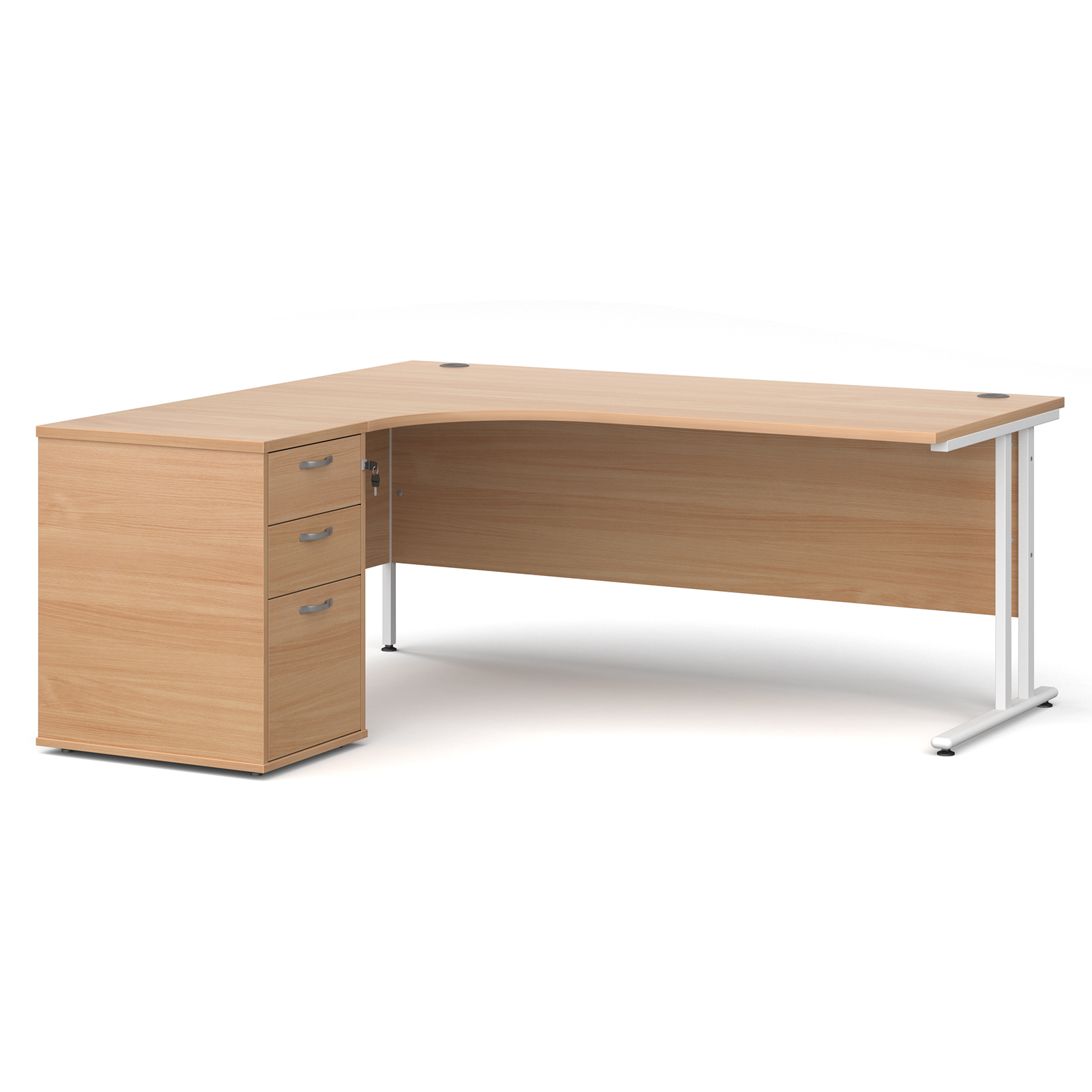 Left Handed Maestro 25 left hand ergonomic desk 1800mm with white cantilever frame and desk high pedestal - beech