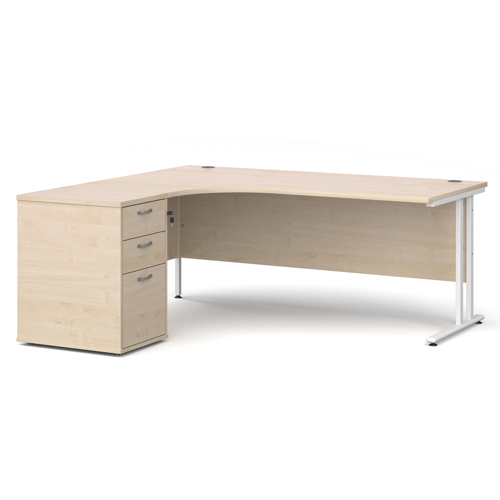 Left Handed Maestro 25 left hand ergonomic desk 1800mm with white cantilever frame and desk high pedestal - maple
