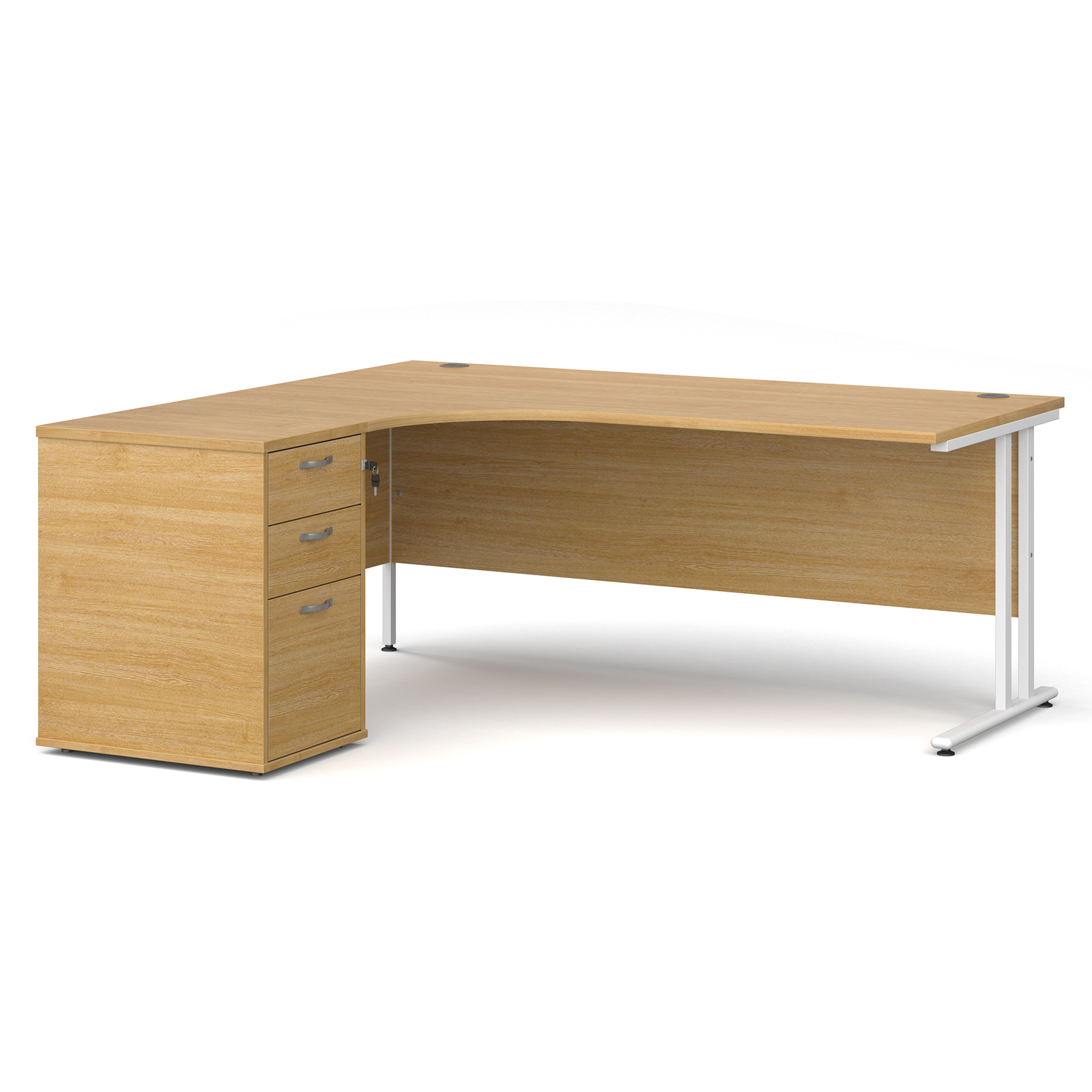 Left Handed Maestro 25 left hand ergonomic desk 1800mm with white cantilever frame and desk high pedestal - oak