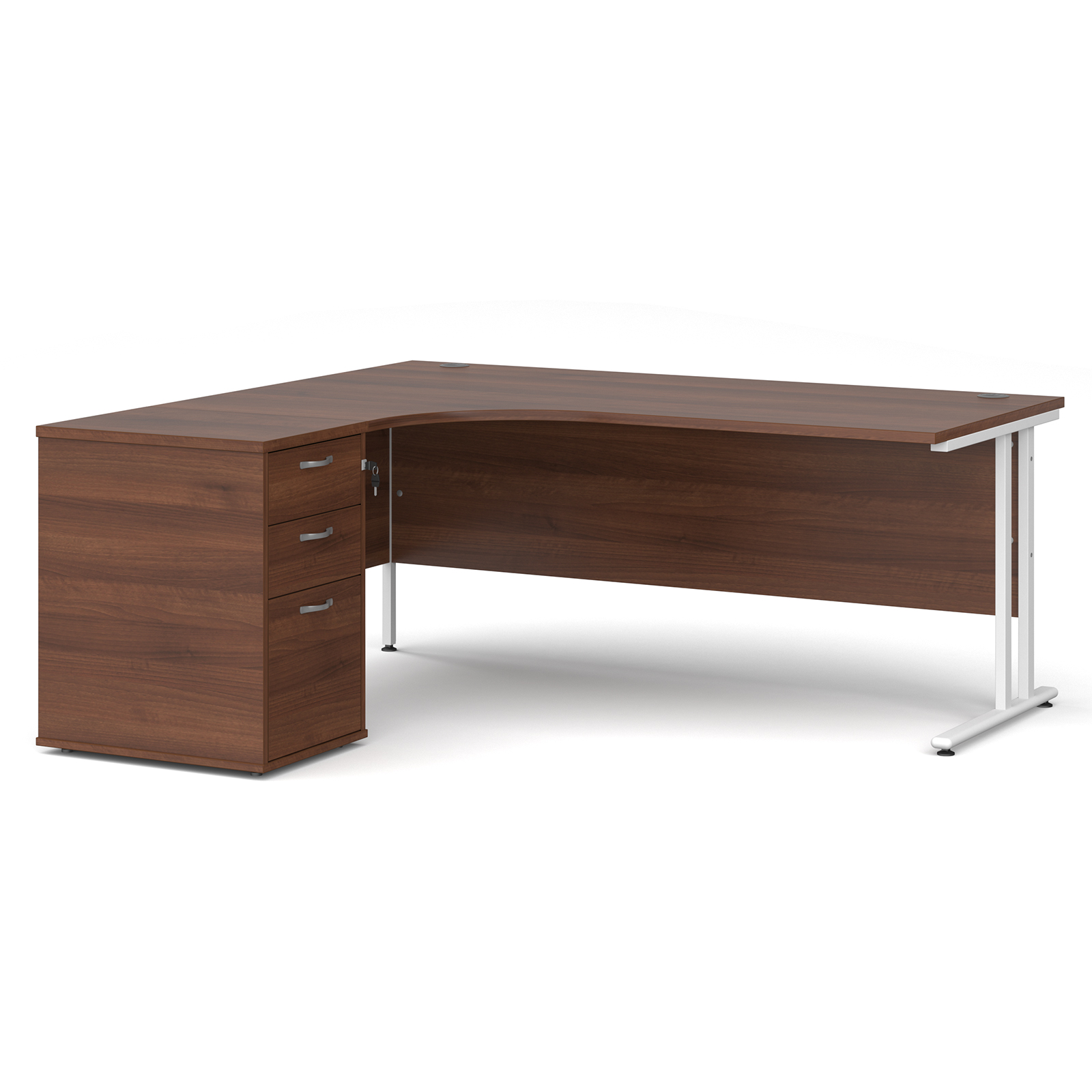 Left Handed Maestro 25 left hand ergonomic desk 1800mm with white cantilever frame and desk high pedestal - walnut