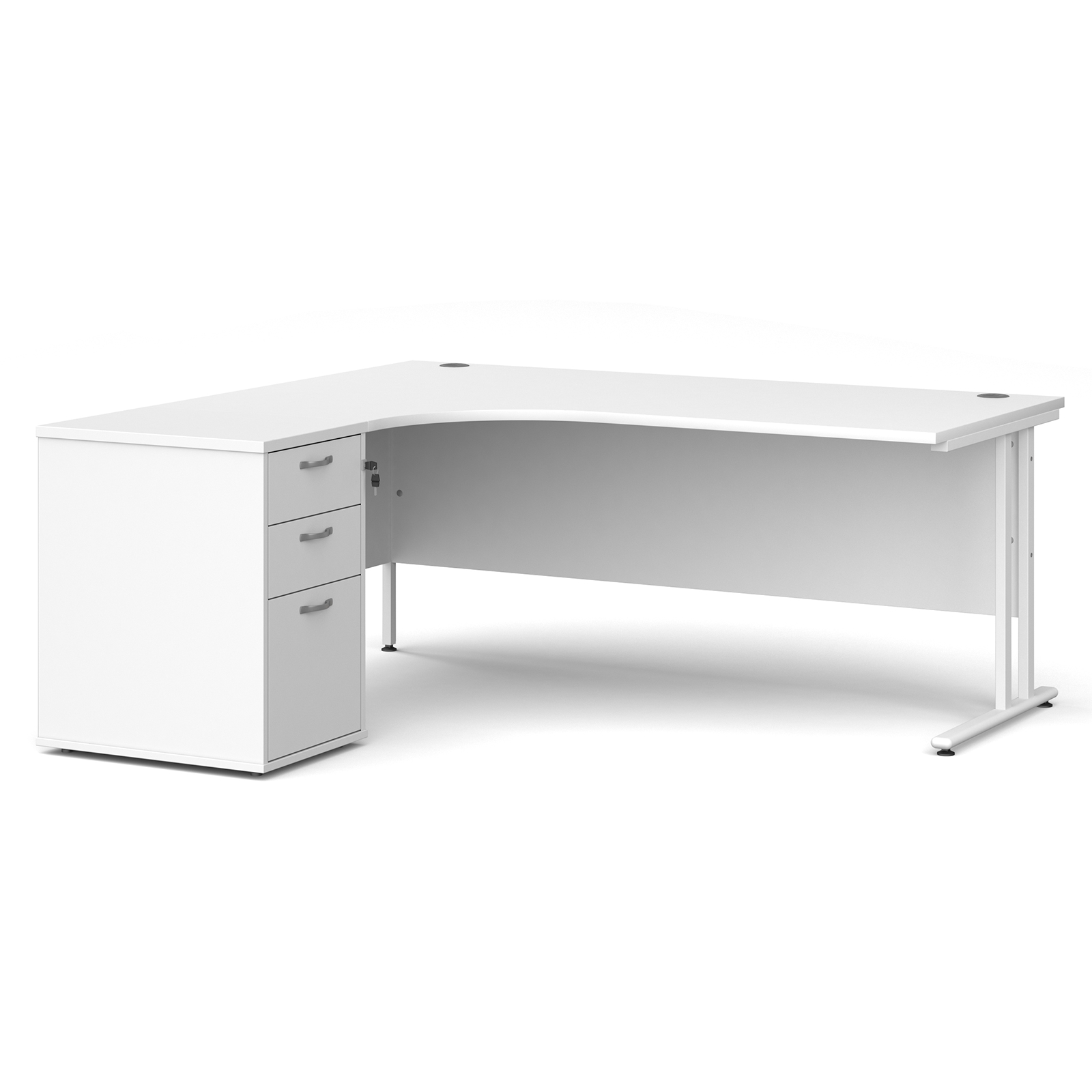 Left Handed Maestro 25 left hand ergonomic desk 1800mm with white cantilever frame and desk high pedestal - white