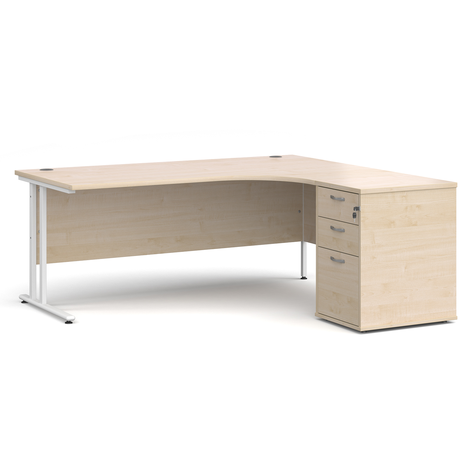 Right Handed Maestro 25 right hand ergonomic desk 1800mm with white cantilever frame and desk high pedestal - maple