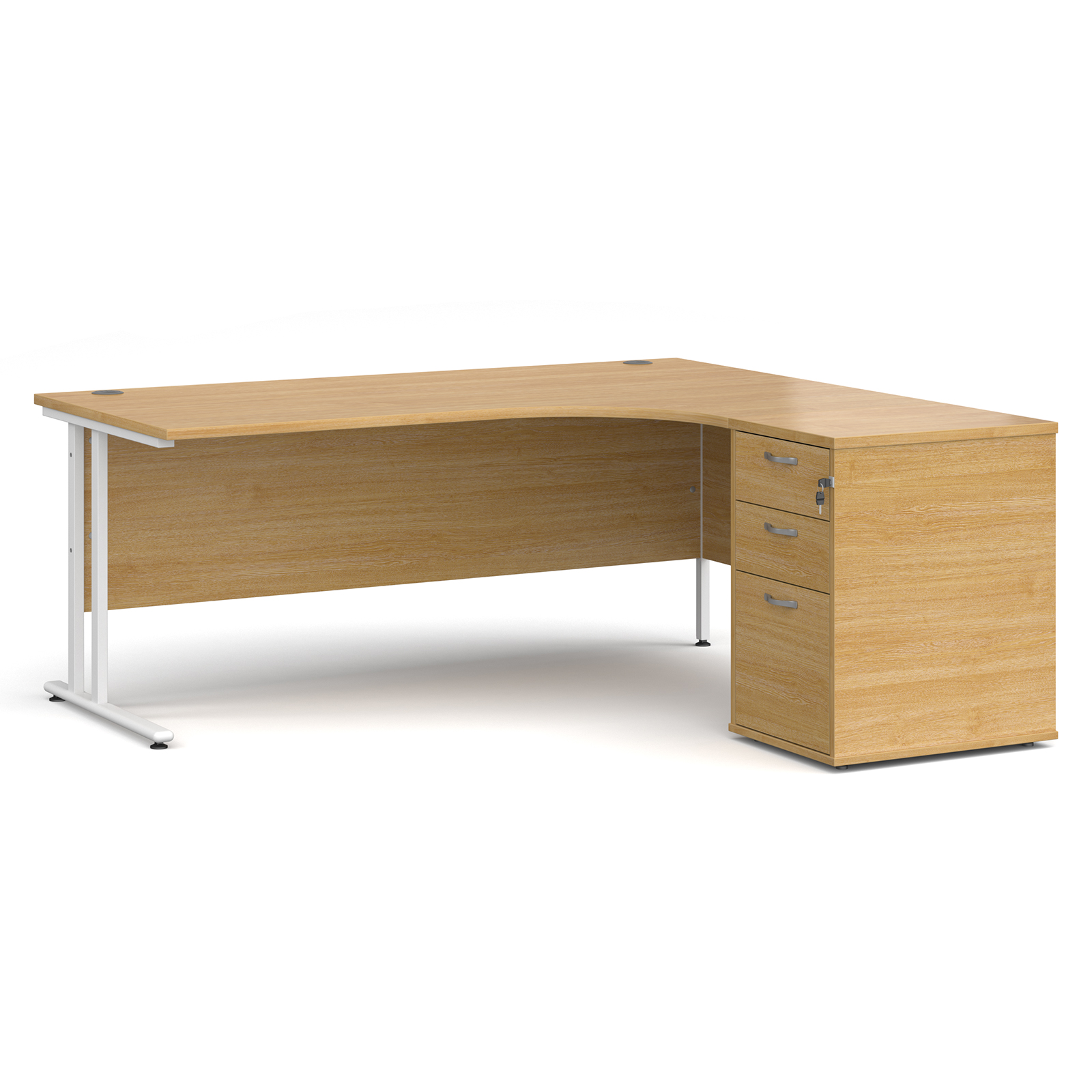 Right Handed Maestro 25 right hand ergonomic desk 1800mm with white cantilever frame and desk high pedestal - oak