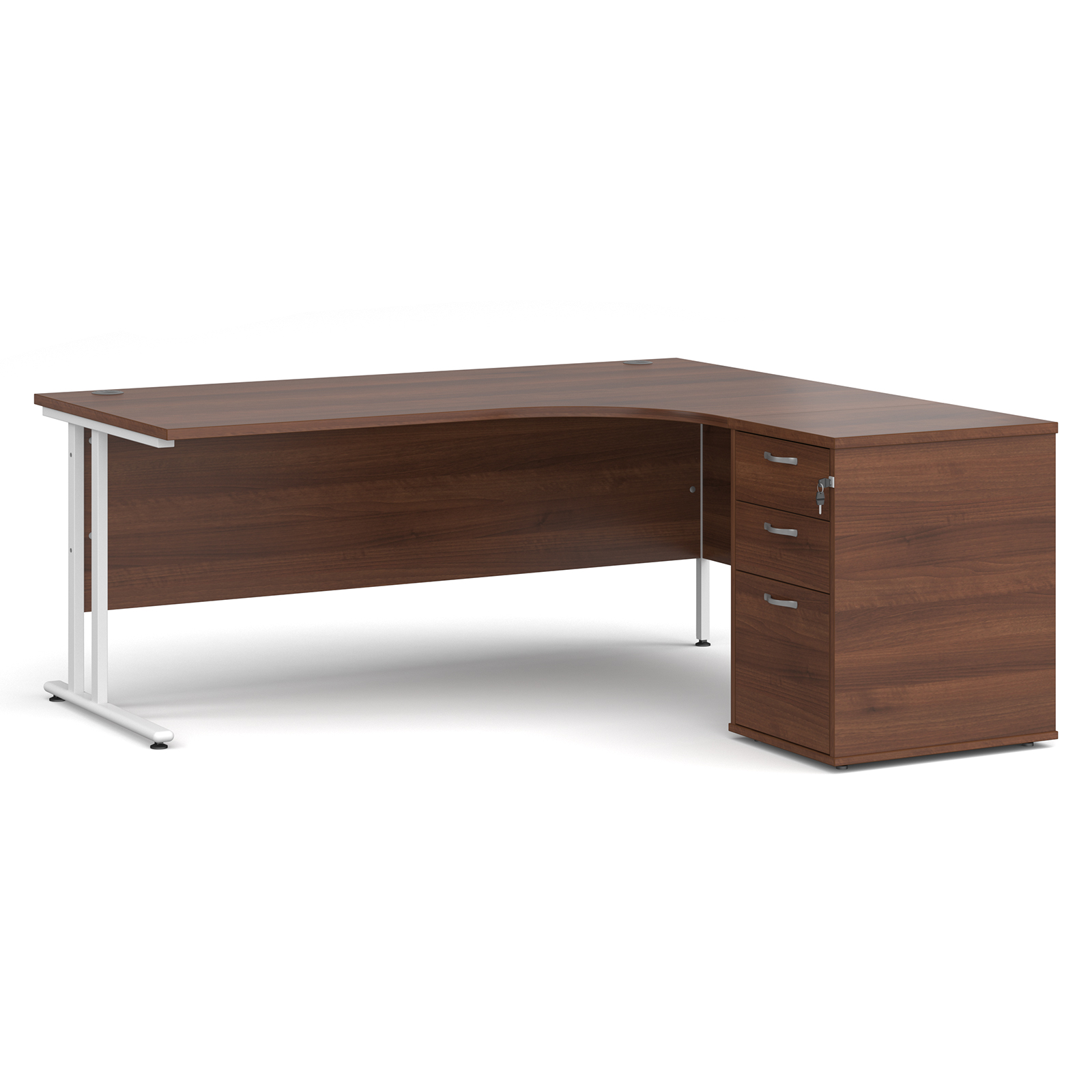 Right Handed Maestro 25 right hand ergonomic desk 1800mm with white cantilever frame and desk high pedestal - walnut