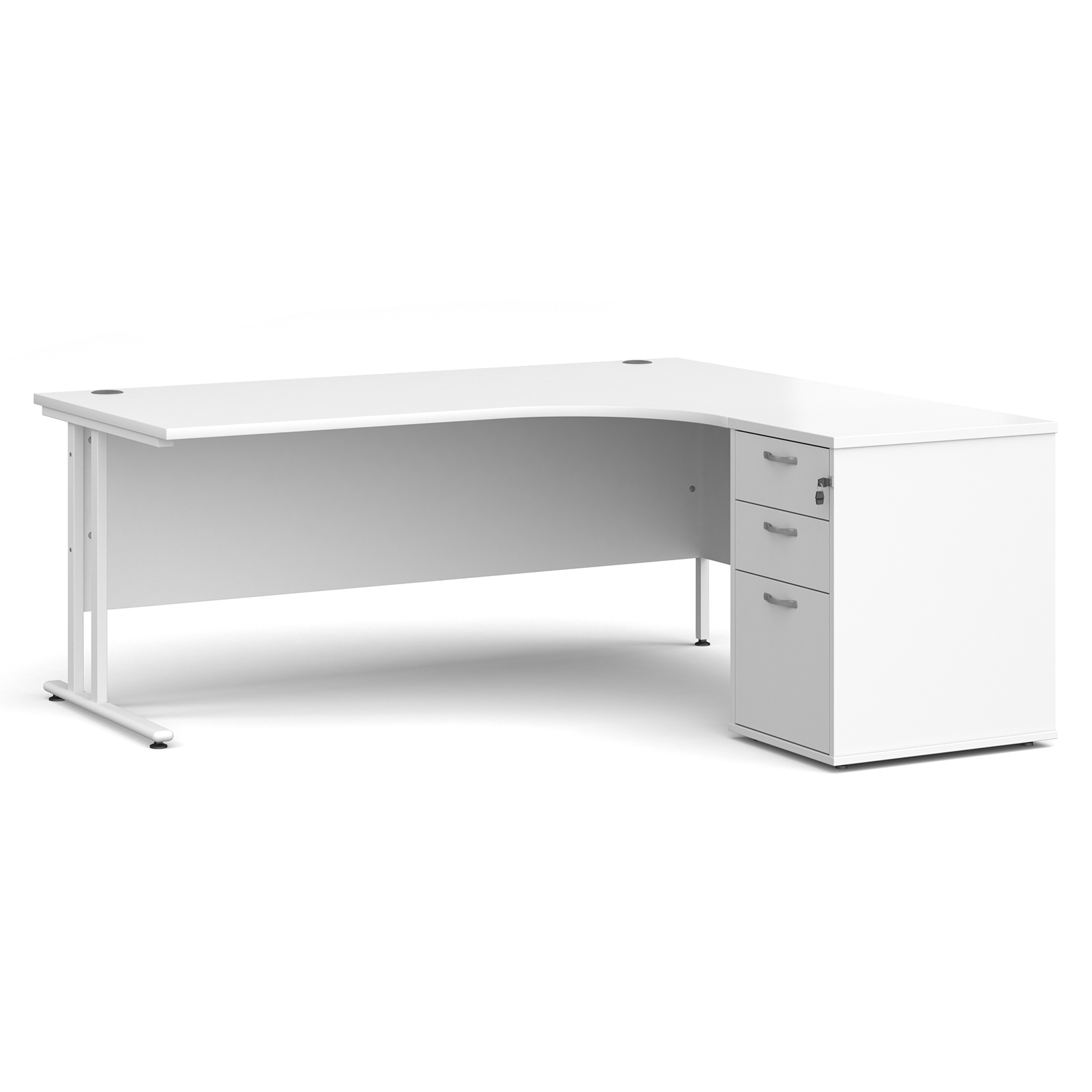 Right Handed Maestro 25 right hand ergonomic desk 1800mm with white cantilever frame and desk high pedestal - white