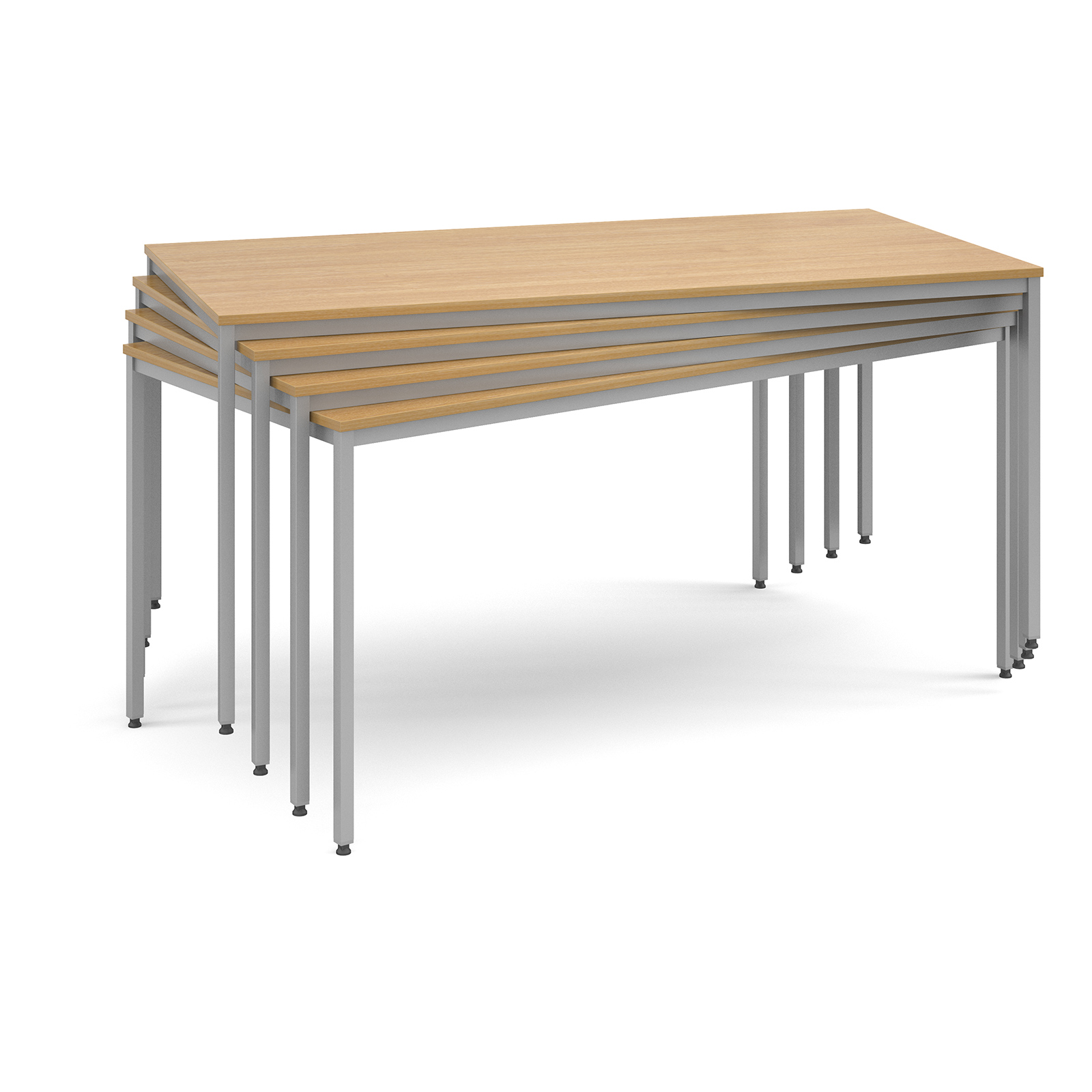 Rectangular flexi table with silver frame 1400mm x 800mm - beech