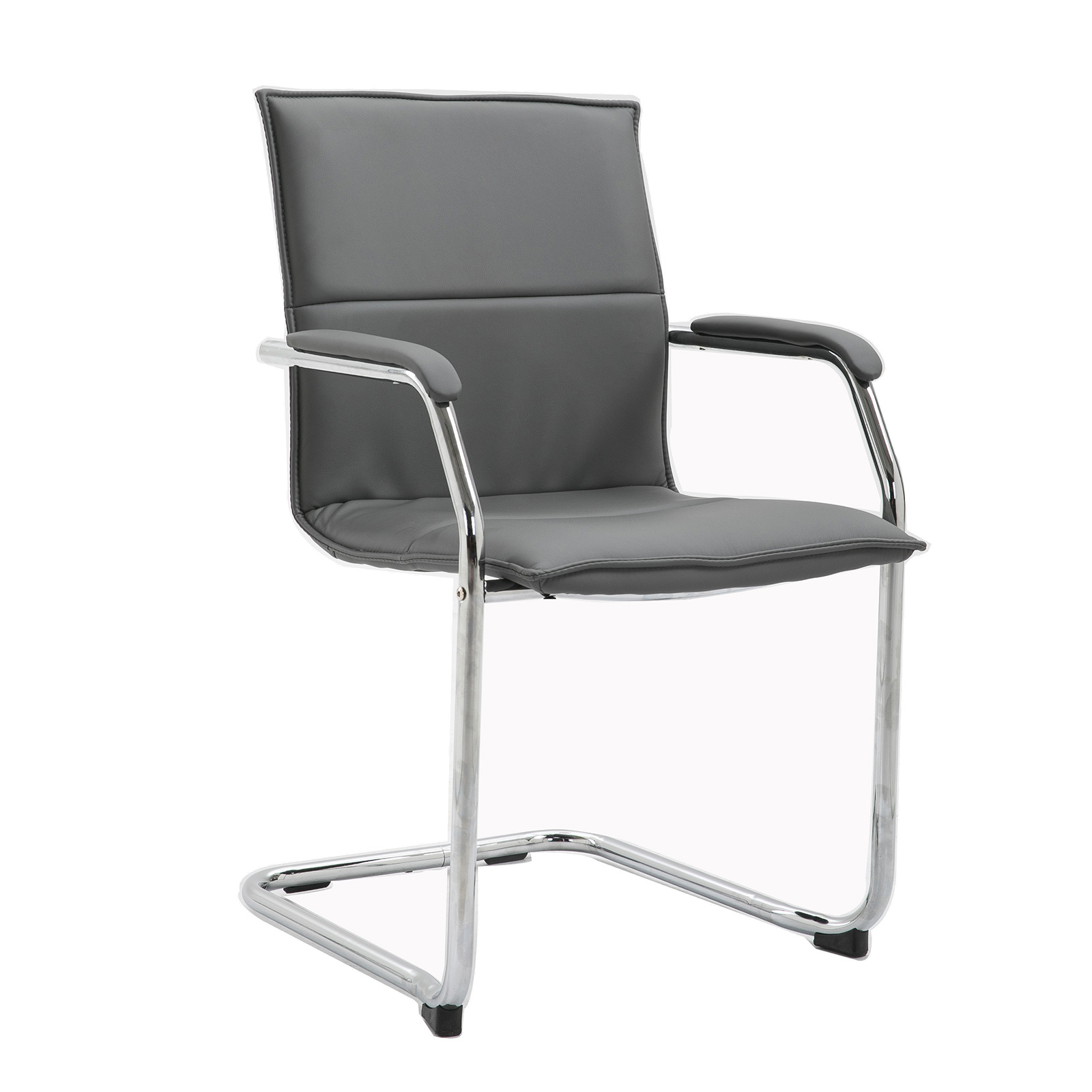 Essen stackable meeting room cantilever chair - grey faux leather