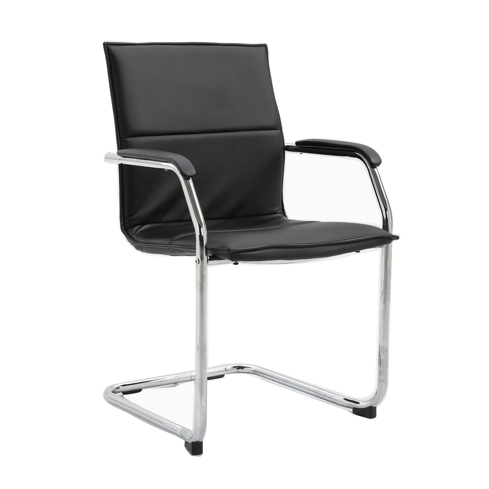 Boardroom / Meeting Essen stackable meeting room cantilever chair - black faux leather