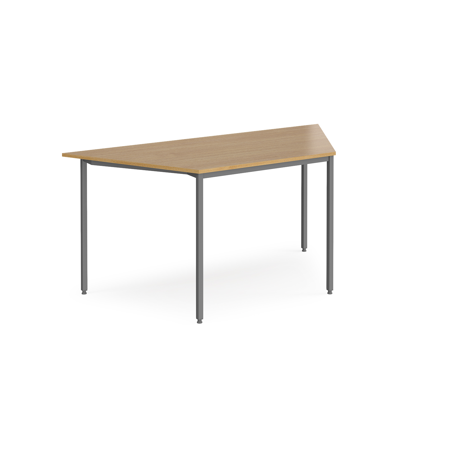 Trapezoidal flexi table with graphite frame 1600mm x 800mm - oak