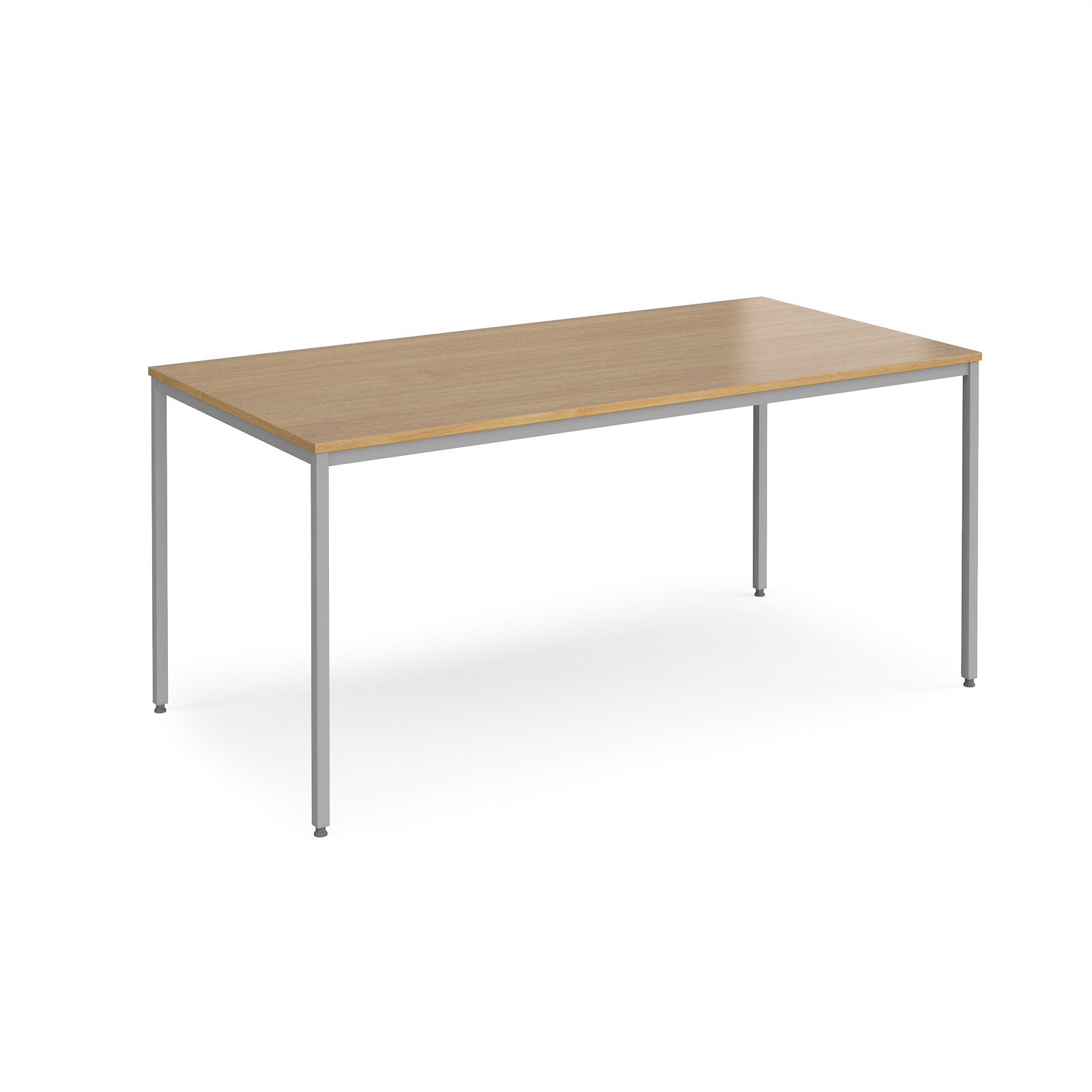Rectangular flexi table with silver frame 1600mm x 800mm - oak