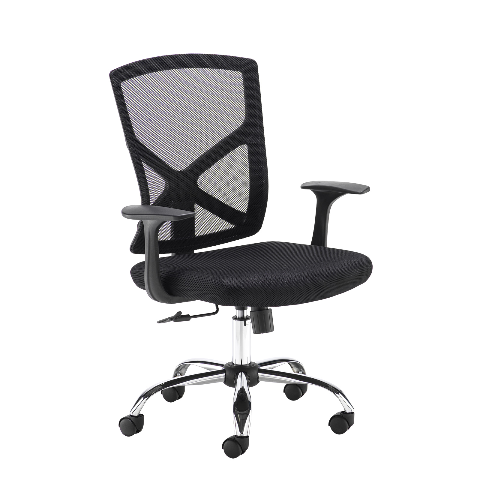 Desk Chairs Hale black mesh back operator chair with black fabric seat and chrome base