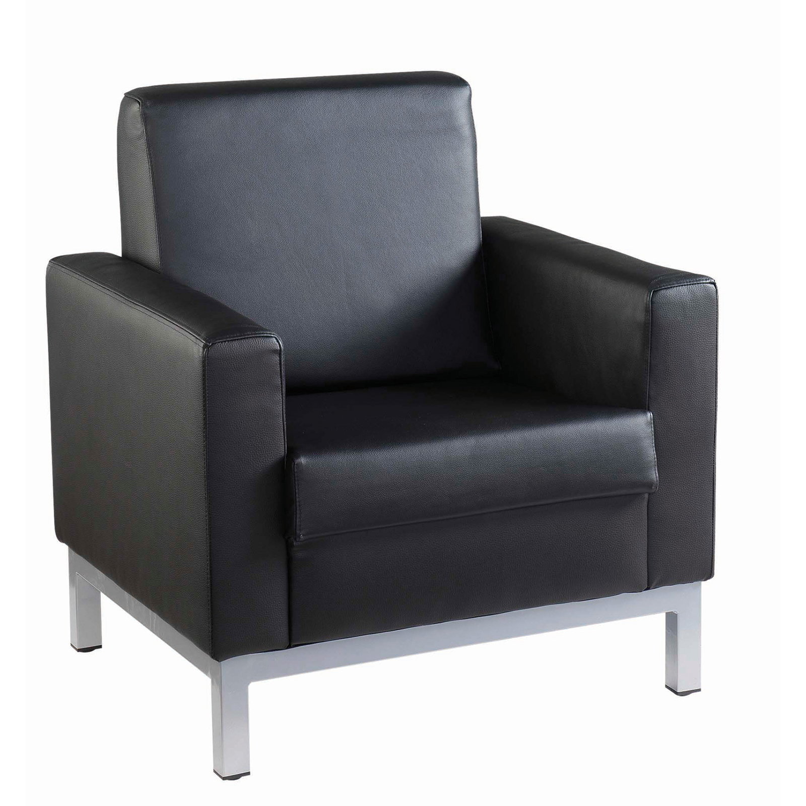 Reception Chairs Helsinki square back reception single tub chair 800mm wide - black leather faced