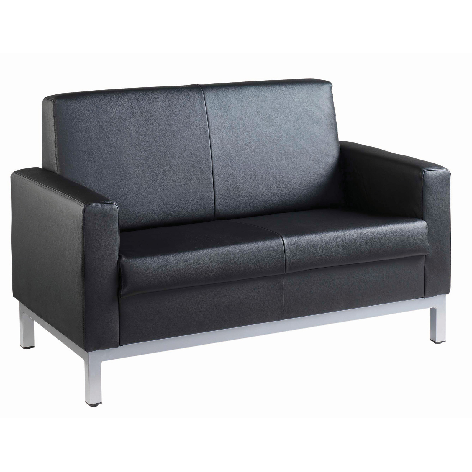 Reception Chairs Helsinki square back reception 2 seater chair 1340mm wide - black leather faced