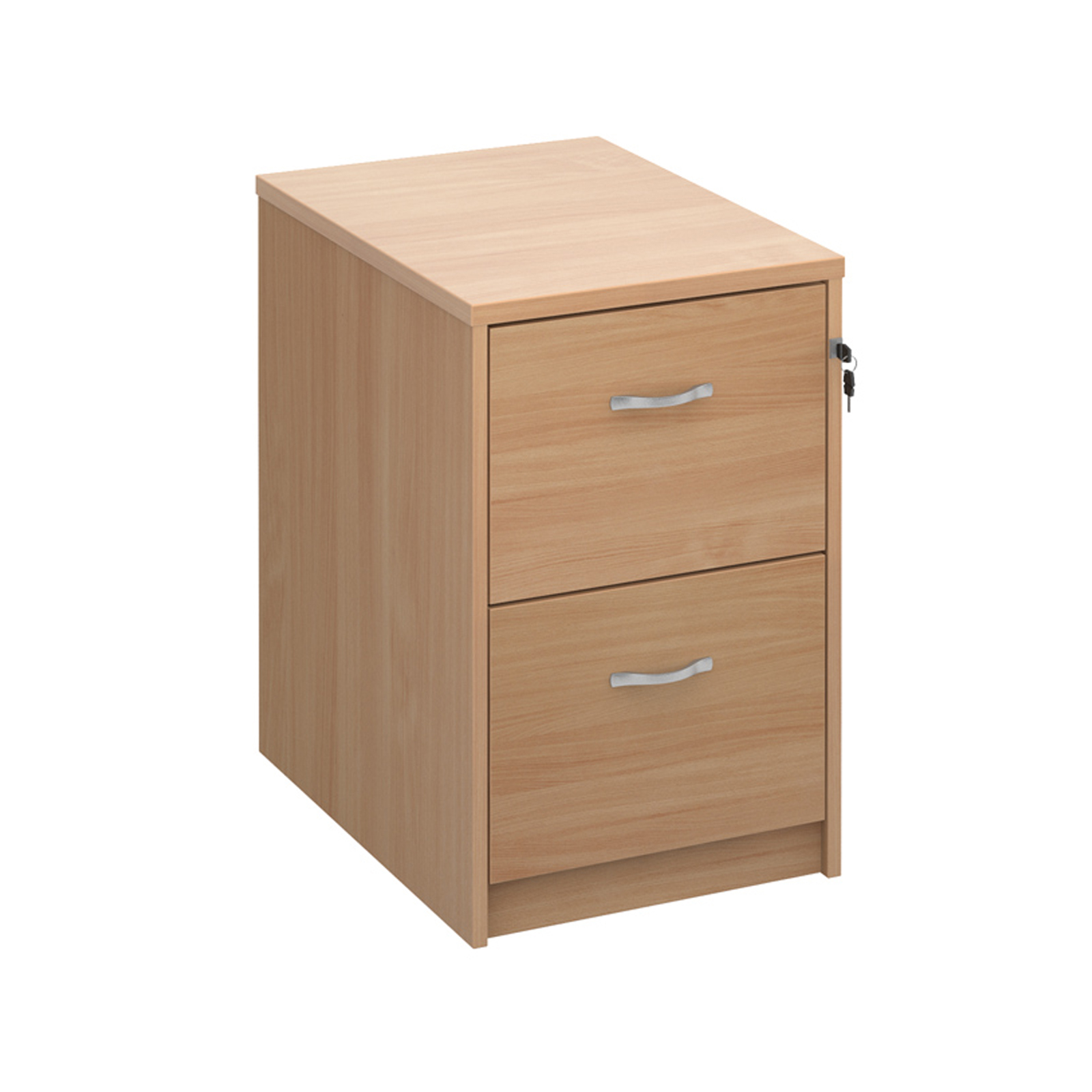 Wood Wooden 2 drawer filing cabinet with silver handles 730mm high - beech