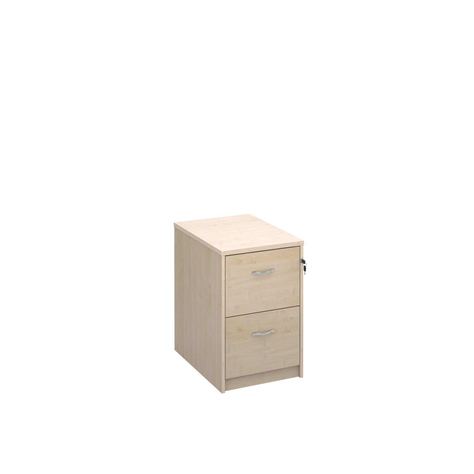 Wood Wooden 2 drawer filing cabinet with silver handles 730mm high - maple