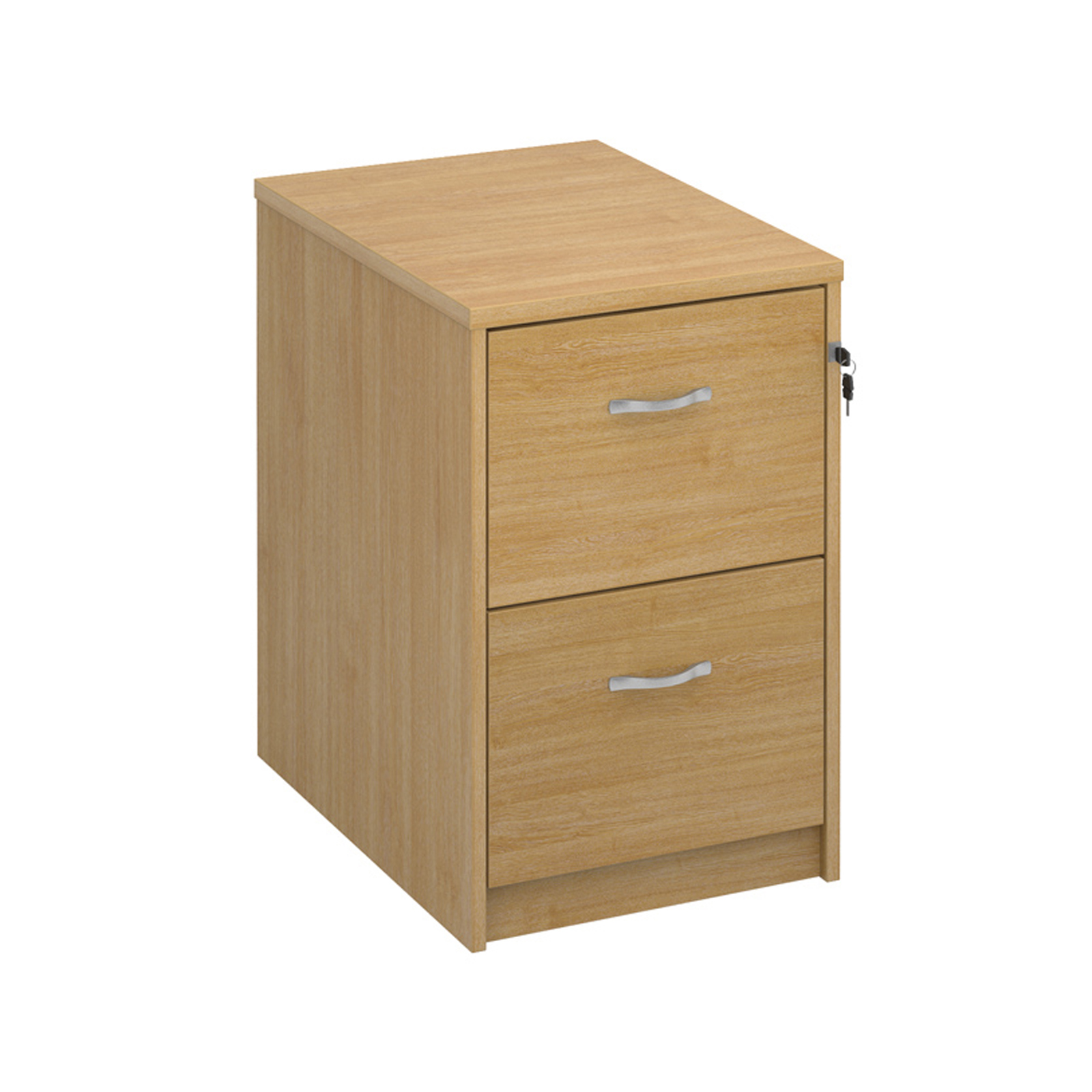 Wood Wooden 2 drawer filing cabinet with silver handles 730mm high - oak