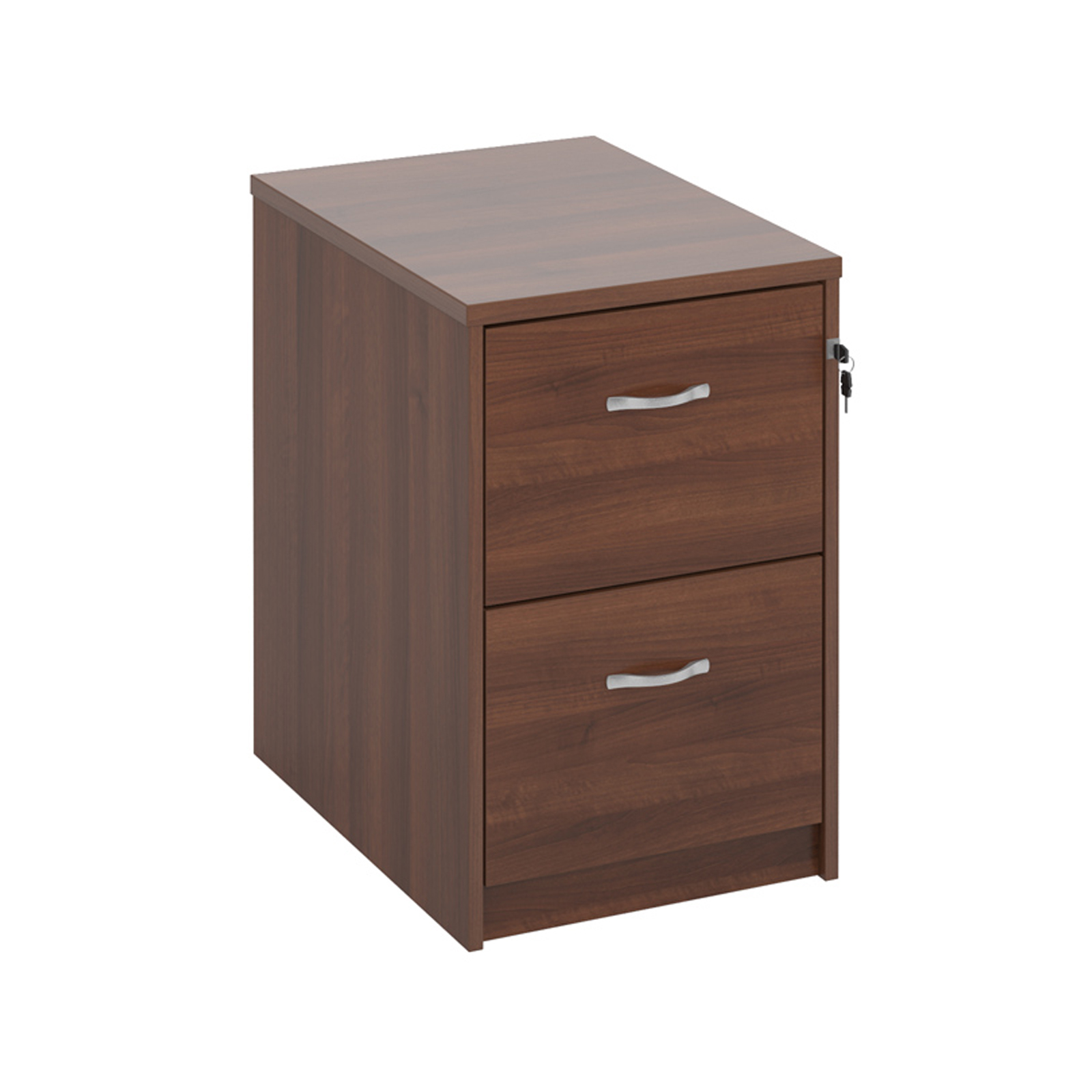Wooden 2 drawer filing cabinet with silver handles 730mm high - walnut