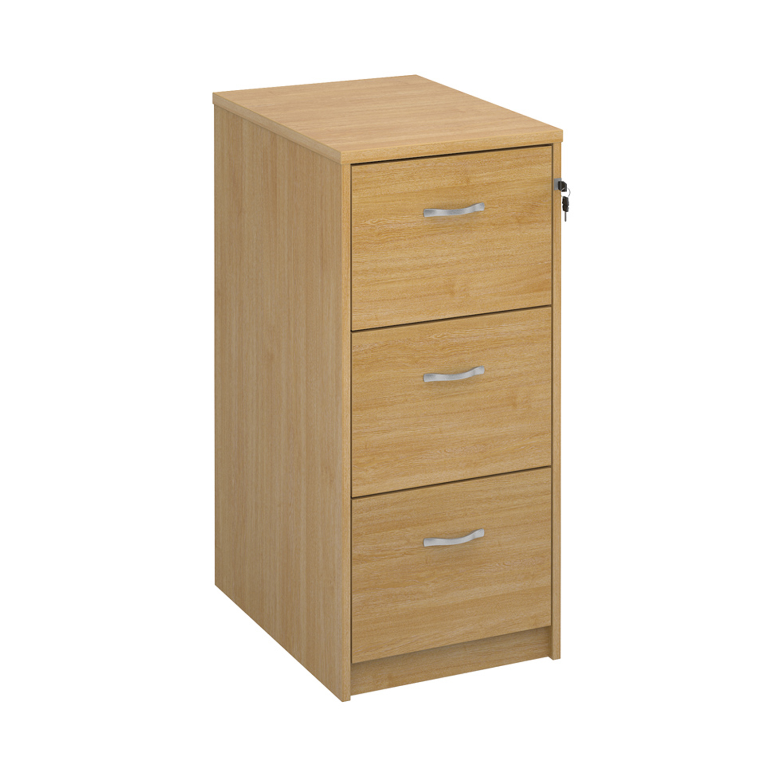 Wood Wooden 3 drawer filing cabinet with silver handles 1045mm high - oak