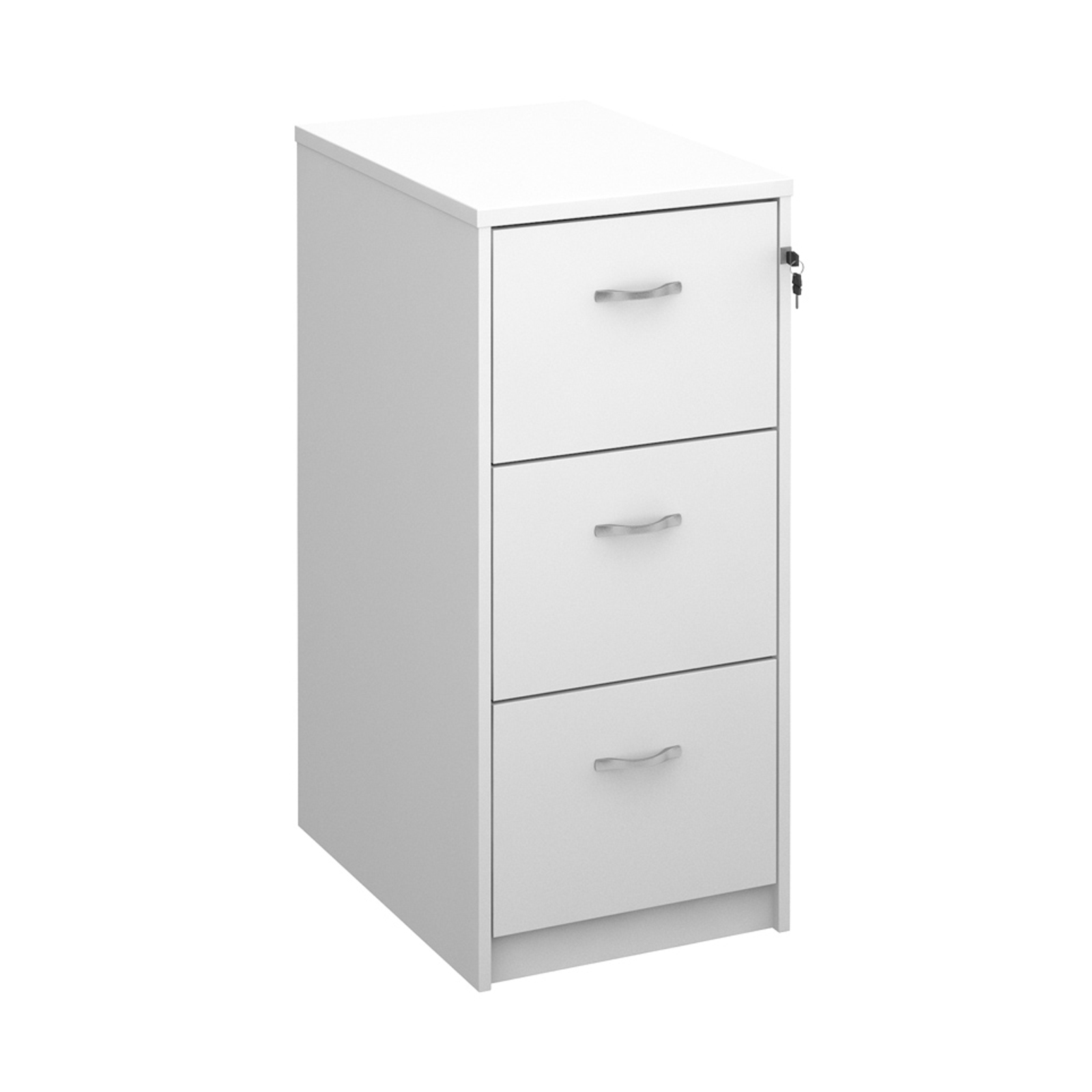 Wooden 3 drawer filing cabinet with silver handles 1045mm high - white
