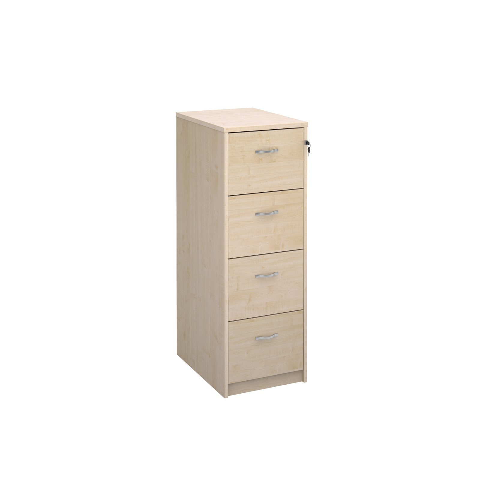 Wood Wooden 4 drawer filing cabinet with silver handles 1360mm high - maple