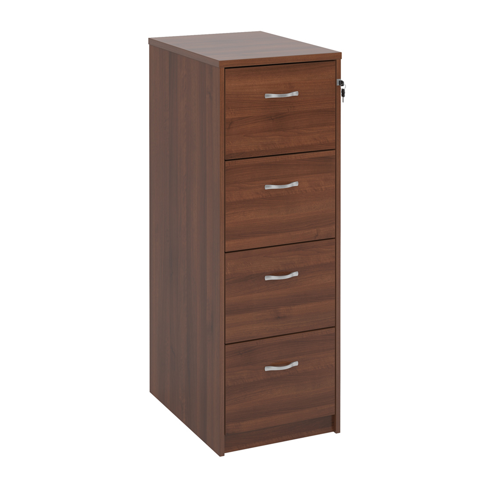 Wood Wooden 4 drawer filing cabinet with silver handles 1360mm high - walnut