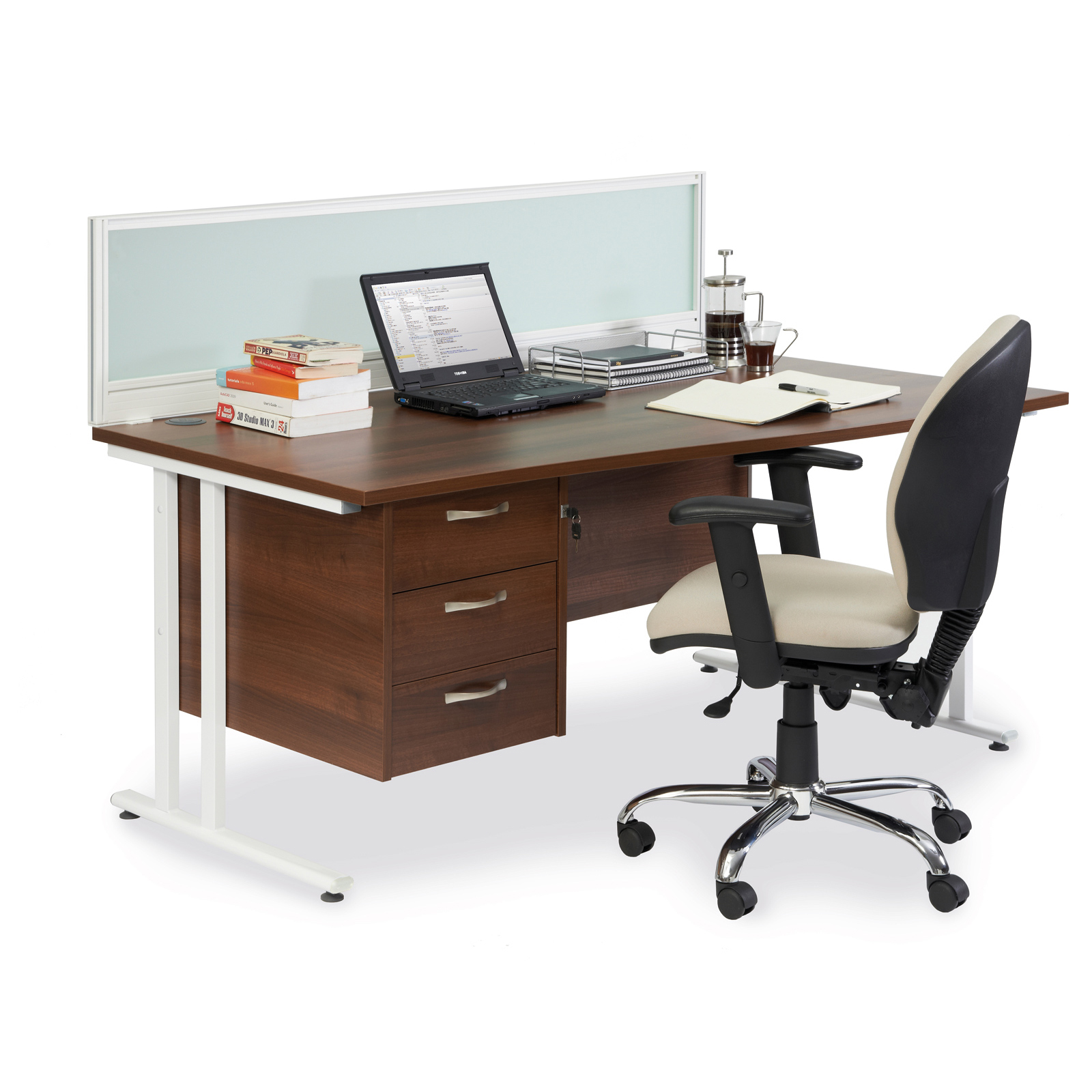 Maestro 25 WL right hand wave desk 1200mm - white cantilever frame, beech top