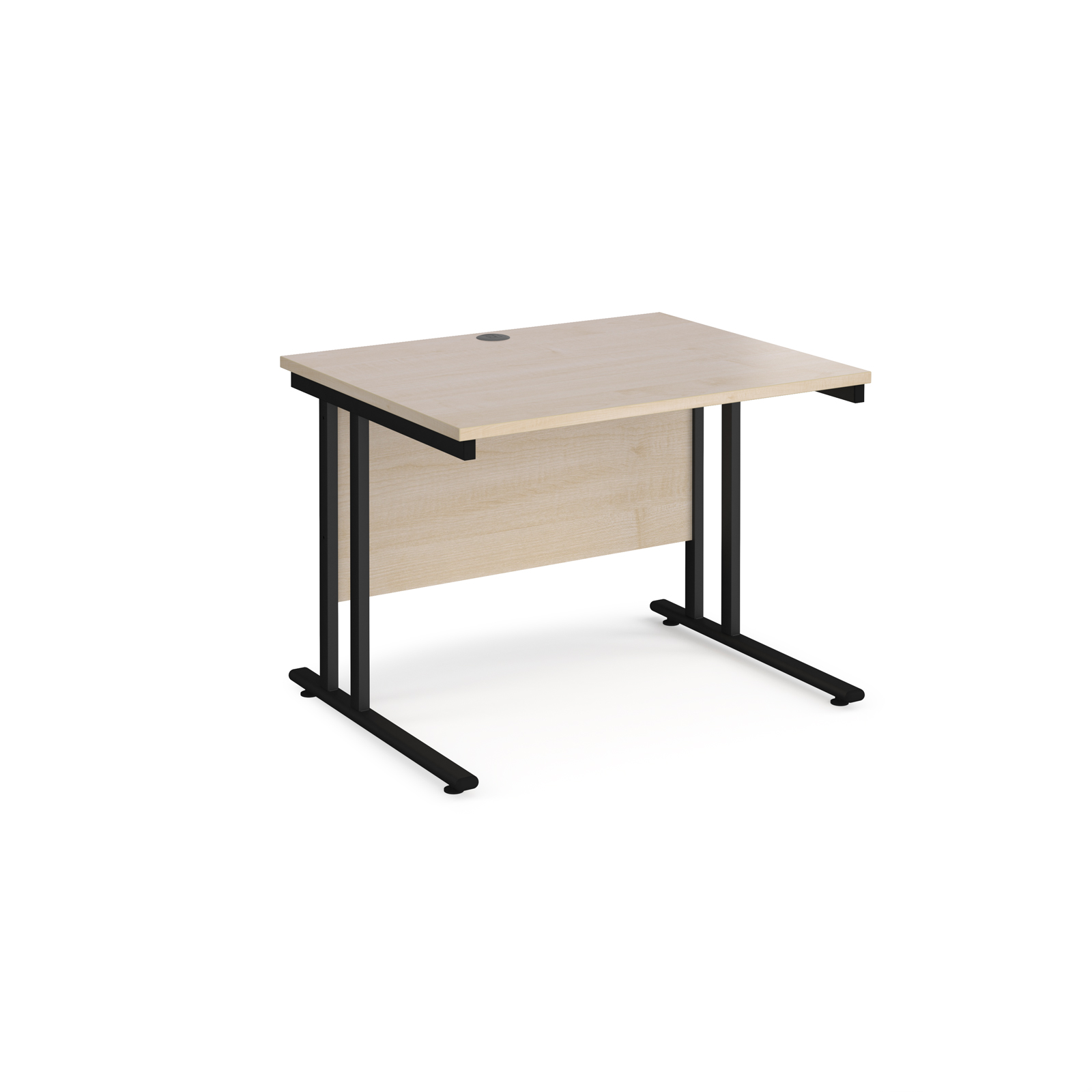 Rectangular Desks Maestro 25 straight desk 1000mm x 800mm - black cantilever leg frame, maple top