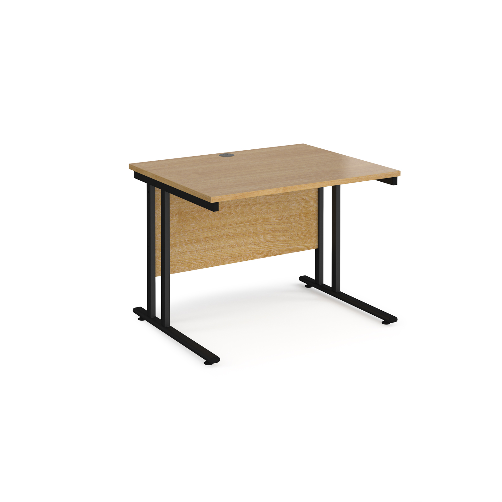 Rectangular Desks Maestro 25 straight desk 1000mm x 800mm - black cantilever leg frame, oak top