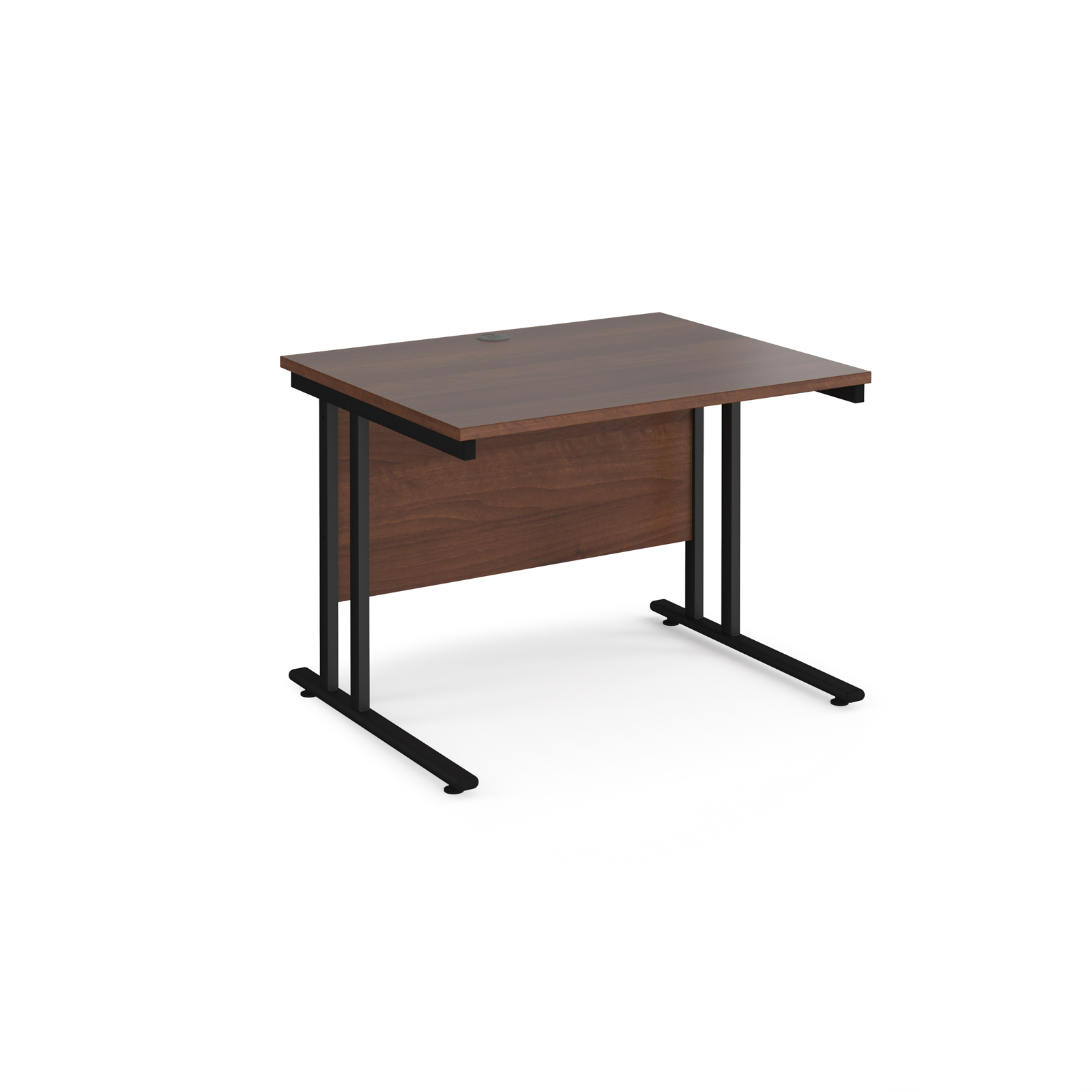 Rectangular Desks Maestro 25 straight desk 1000mm x 800mm - black cantilever leg frame, walnut top