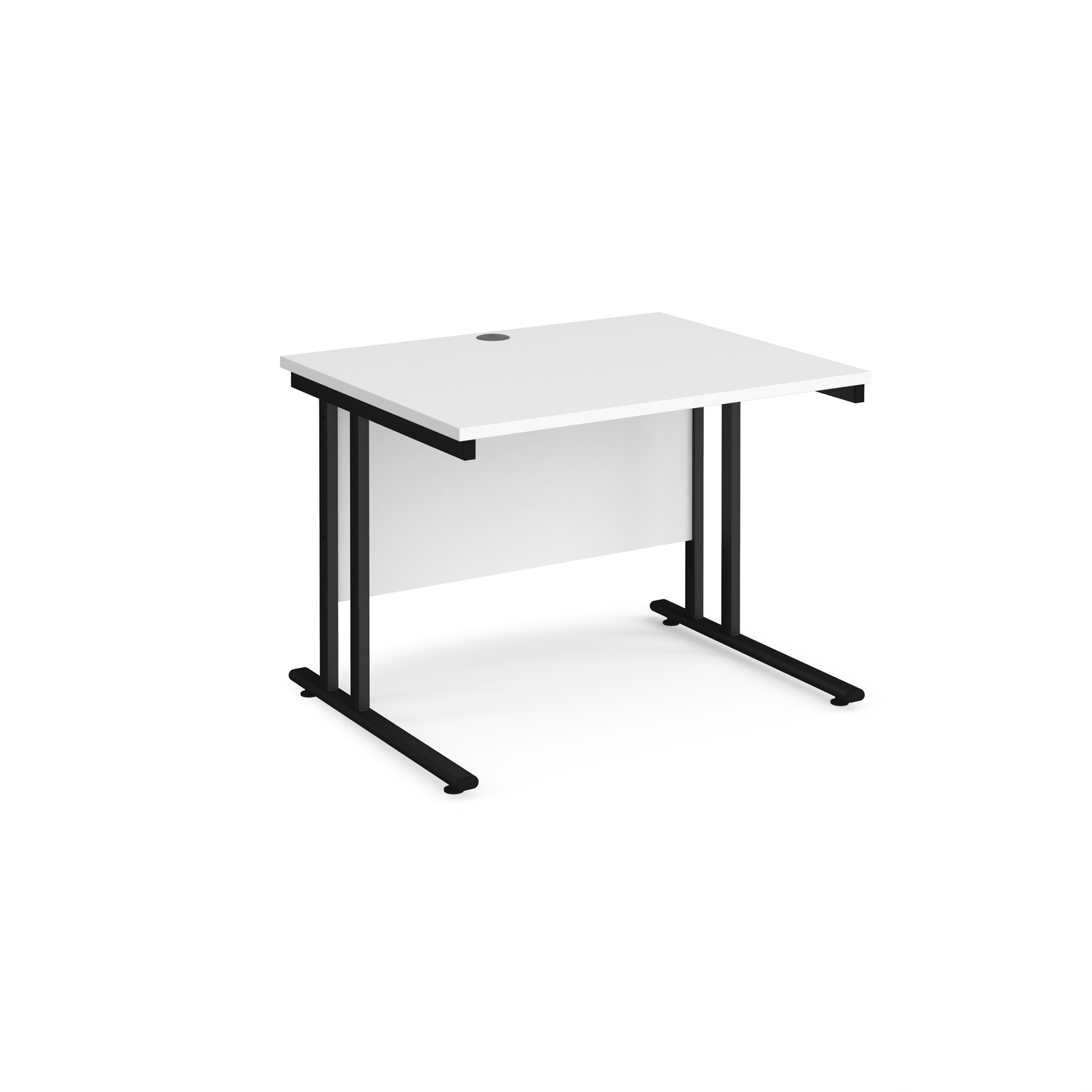 Rectangular Desks Maestro 25 straight desk 1000mm x 800mm - black cantilever leg frame, white top