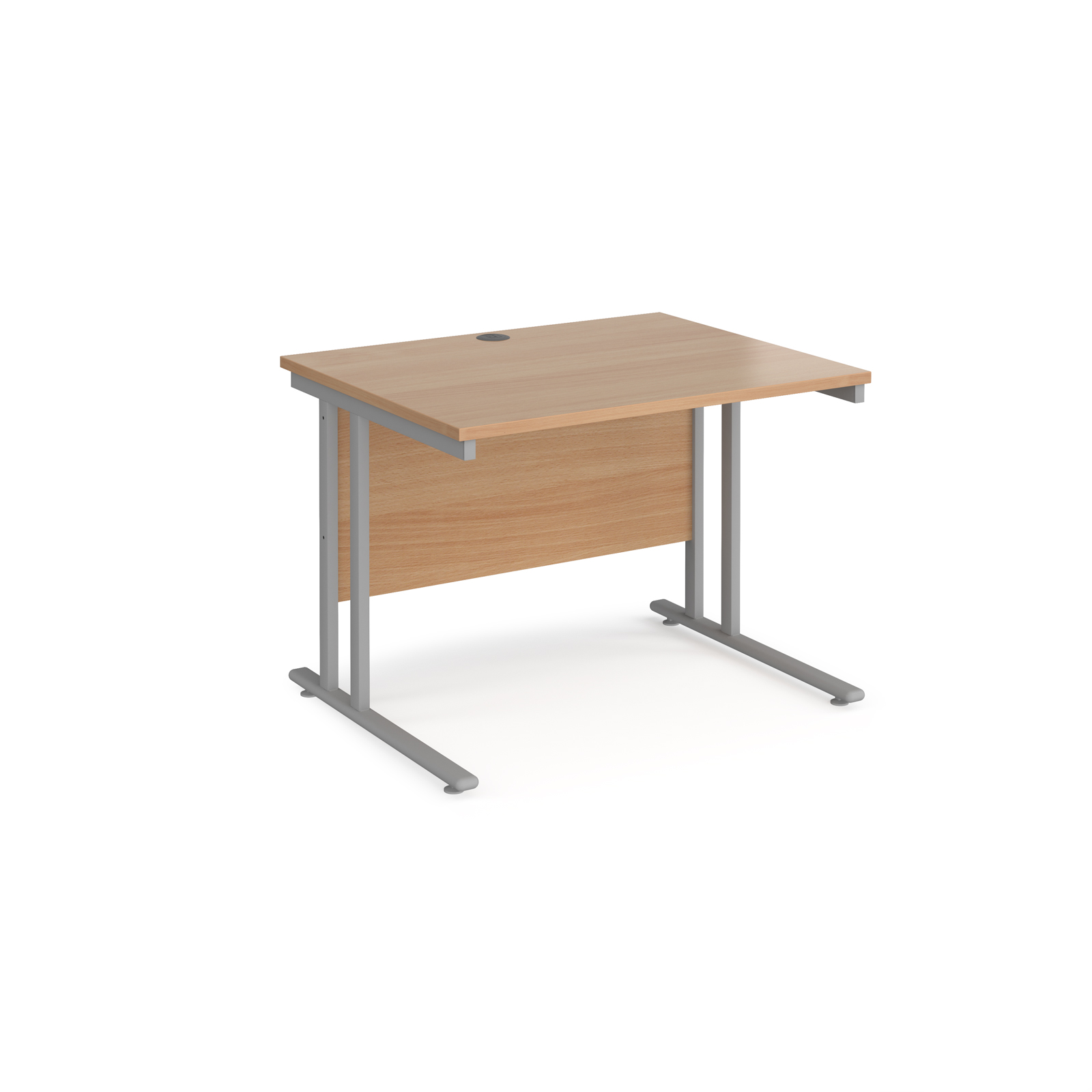 Rectangular Desks Maestro 25 straight desk 1000mm x 800mm - silver cantilever leg frame, beech top