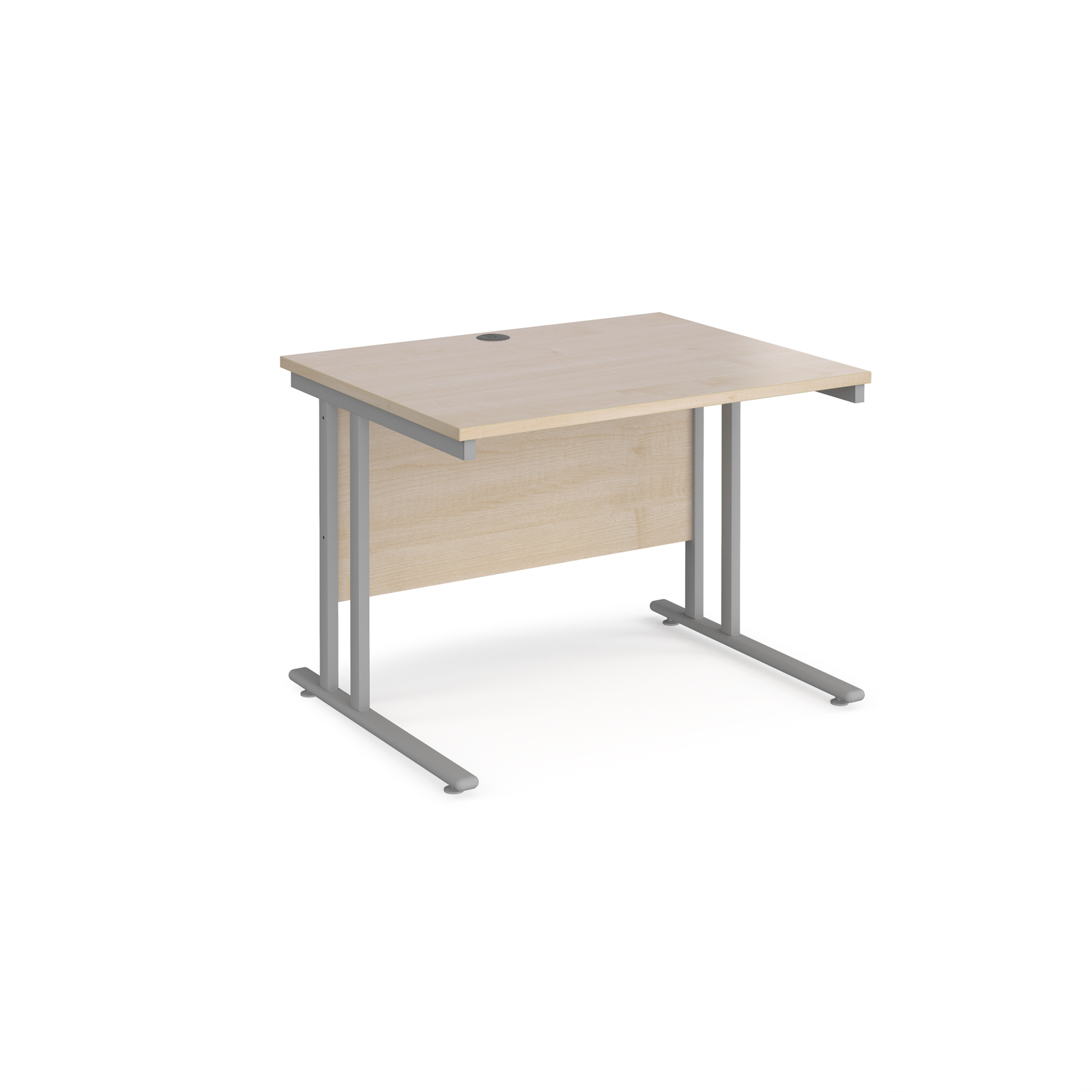 Rectangular Desks Maestro 25 straight desk 1000mm x 800mm - silver cantilever leg frame, maple top