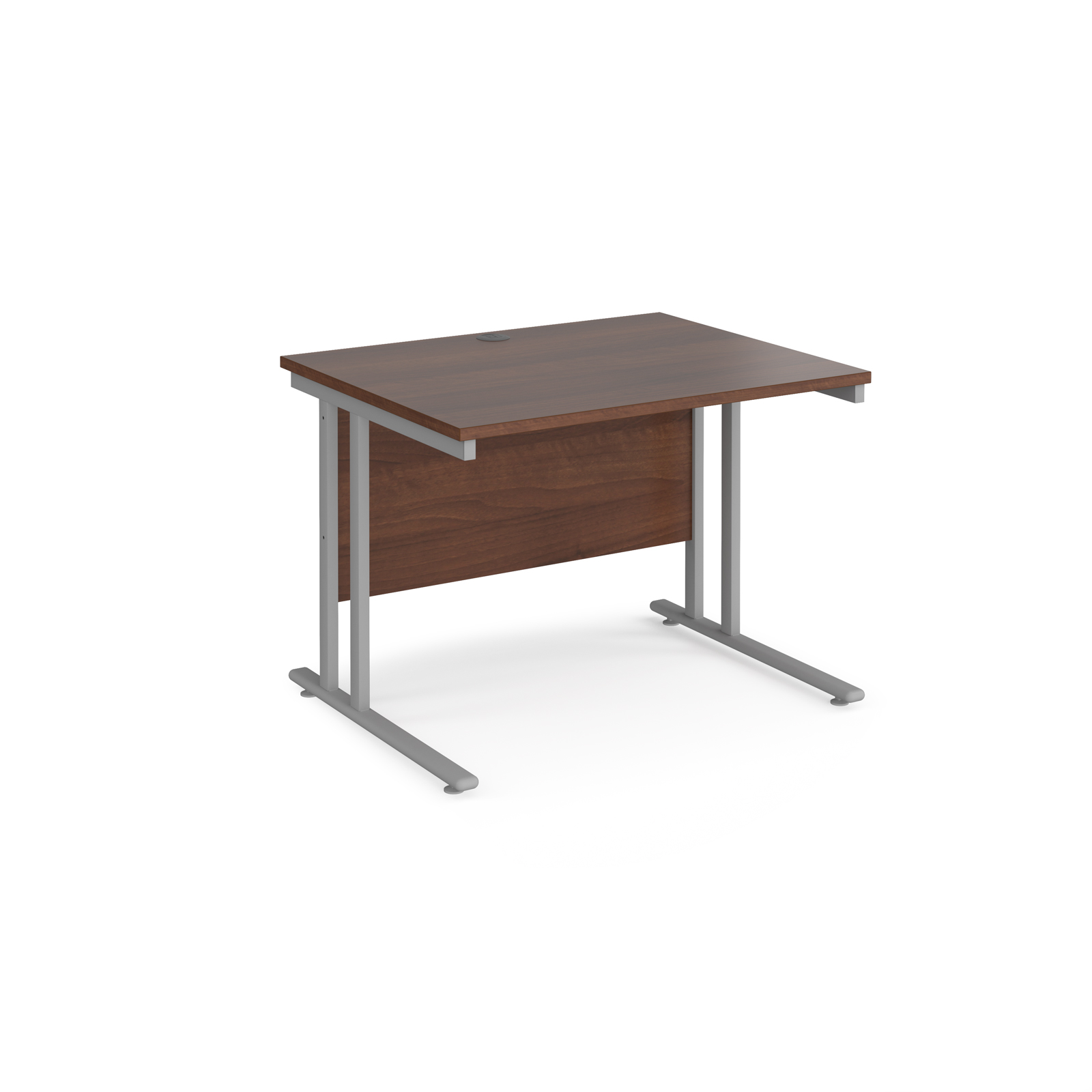 Rectangular Desks Maestro 25 straight desk 1000mm x 800mm - silver cantilever leg frame, walnut top