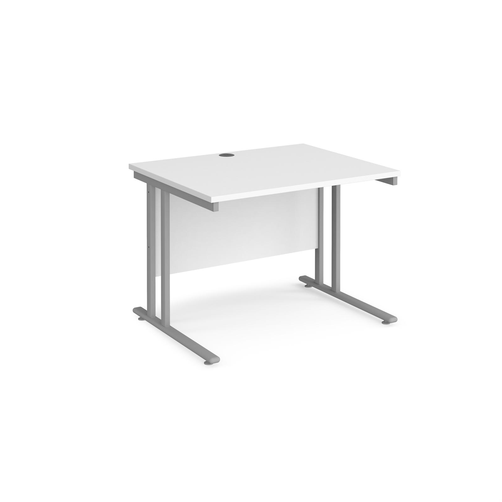 Rectangular Desks Maestro 25 straight desk 1000mm x 800mm - silver cantilever leg frame, white top