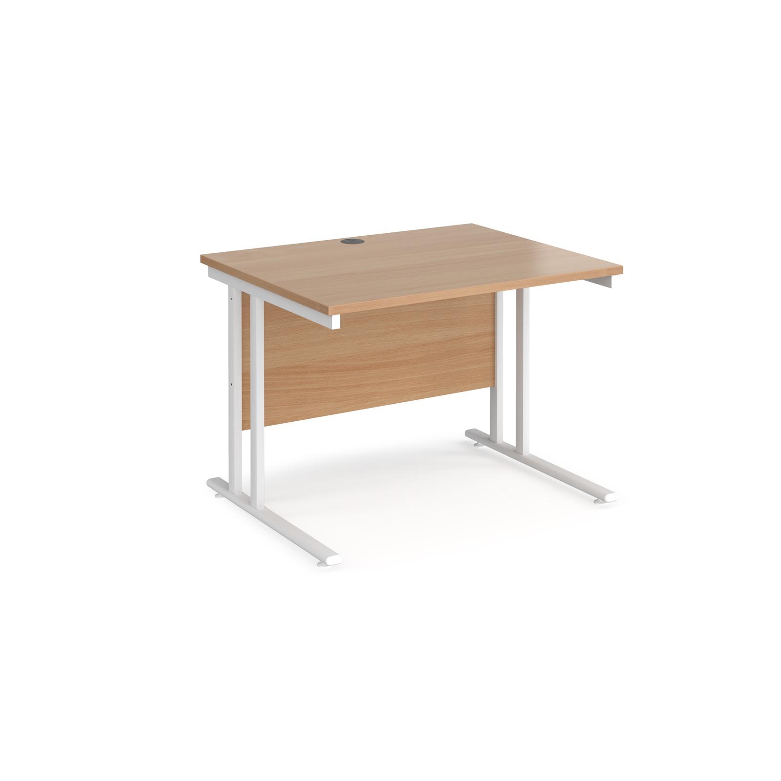 Rectangular Desks Maestro 25 straight desk 1000mm x 800mm - white cantilever leg frame, beech top