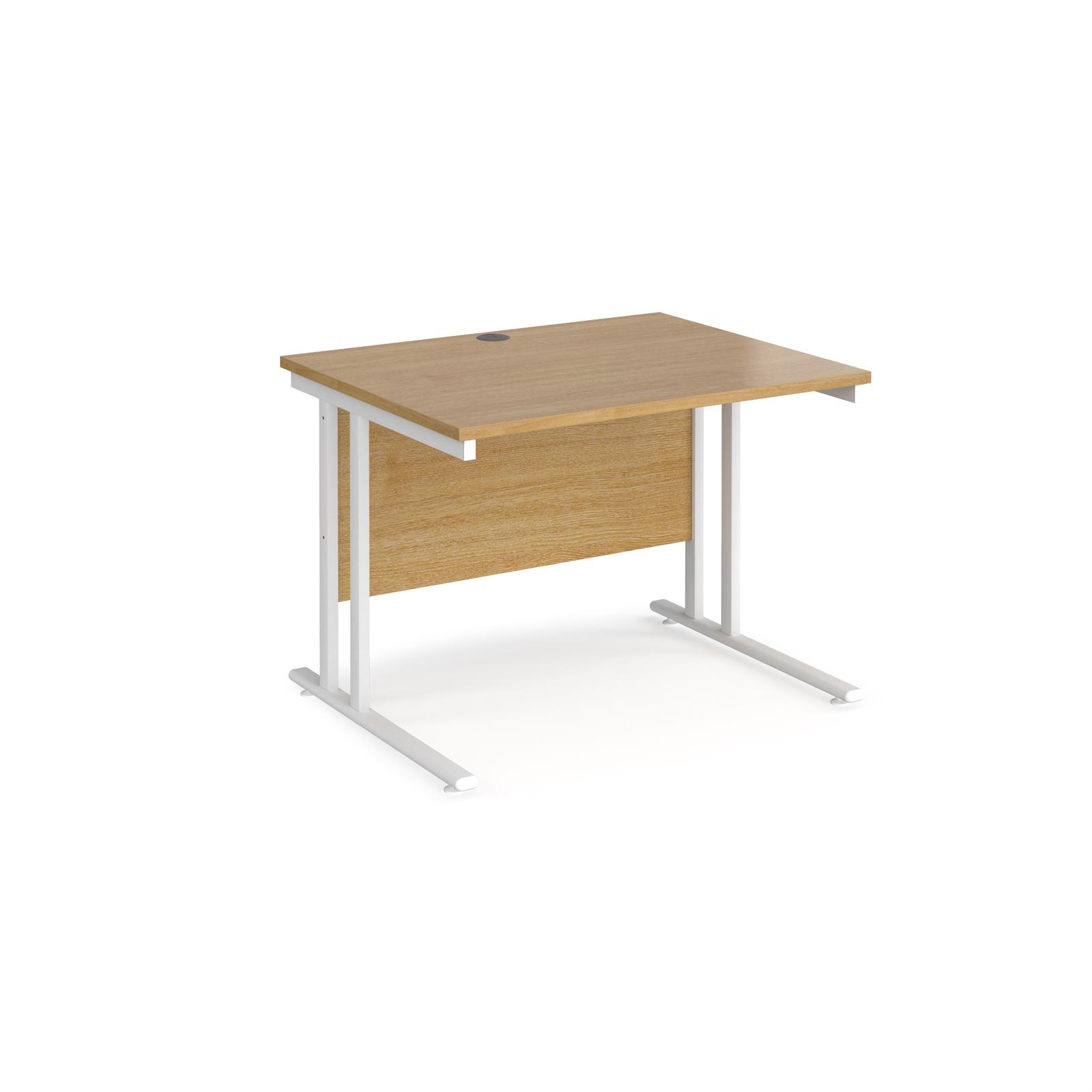 Rectangular Desks Maestro 25 straight desk 1000mm x 800mm - white cantilever leg frame, oak top