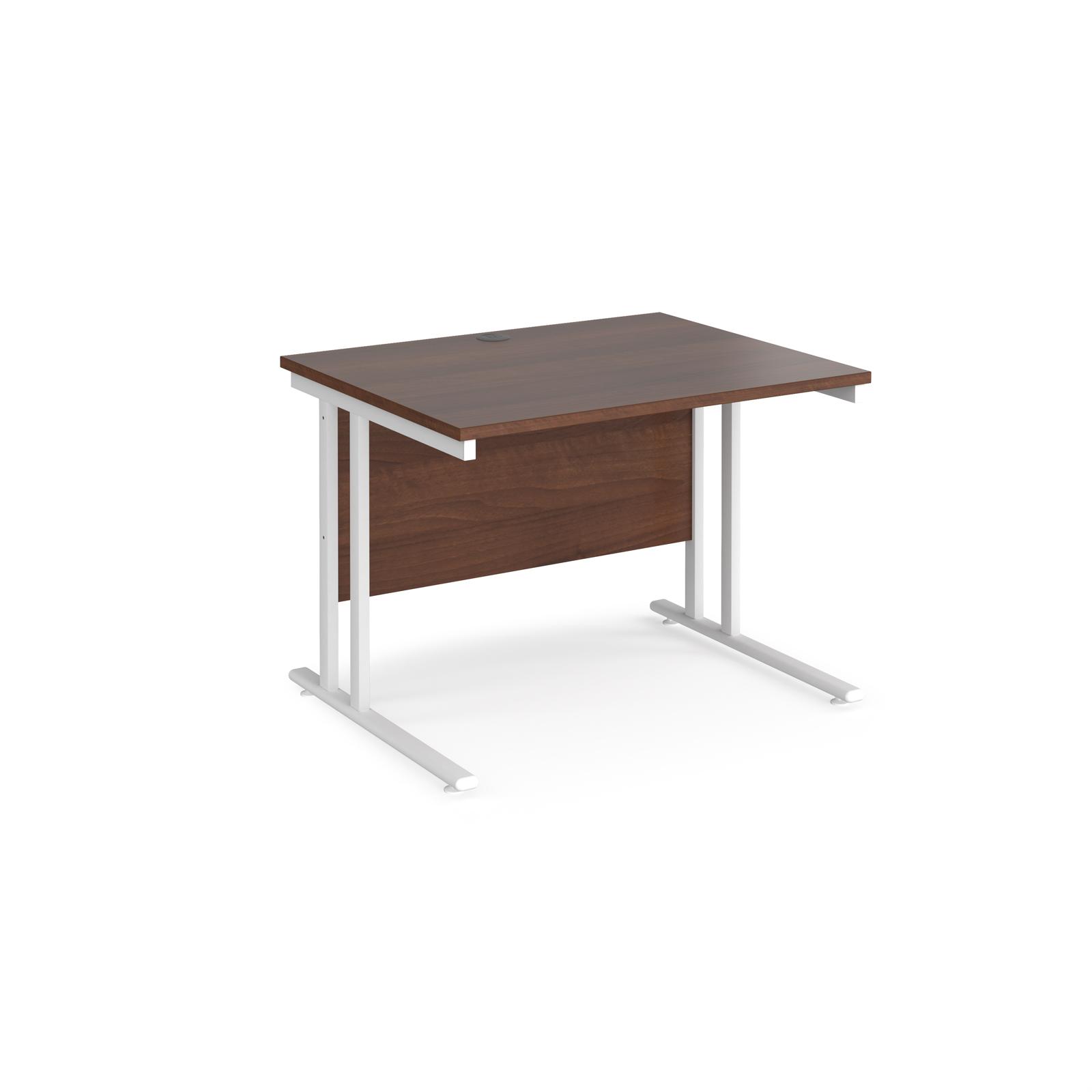Rectangular Desks Maestro 25 straight desk 1000mm x 800mm - white cantilever leg frame, walnut top