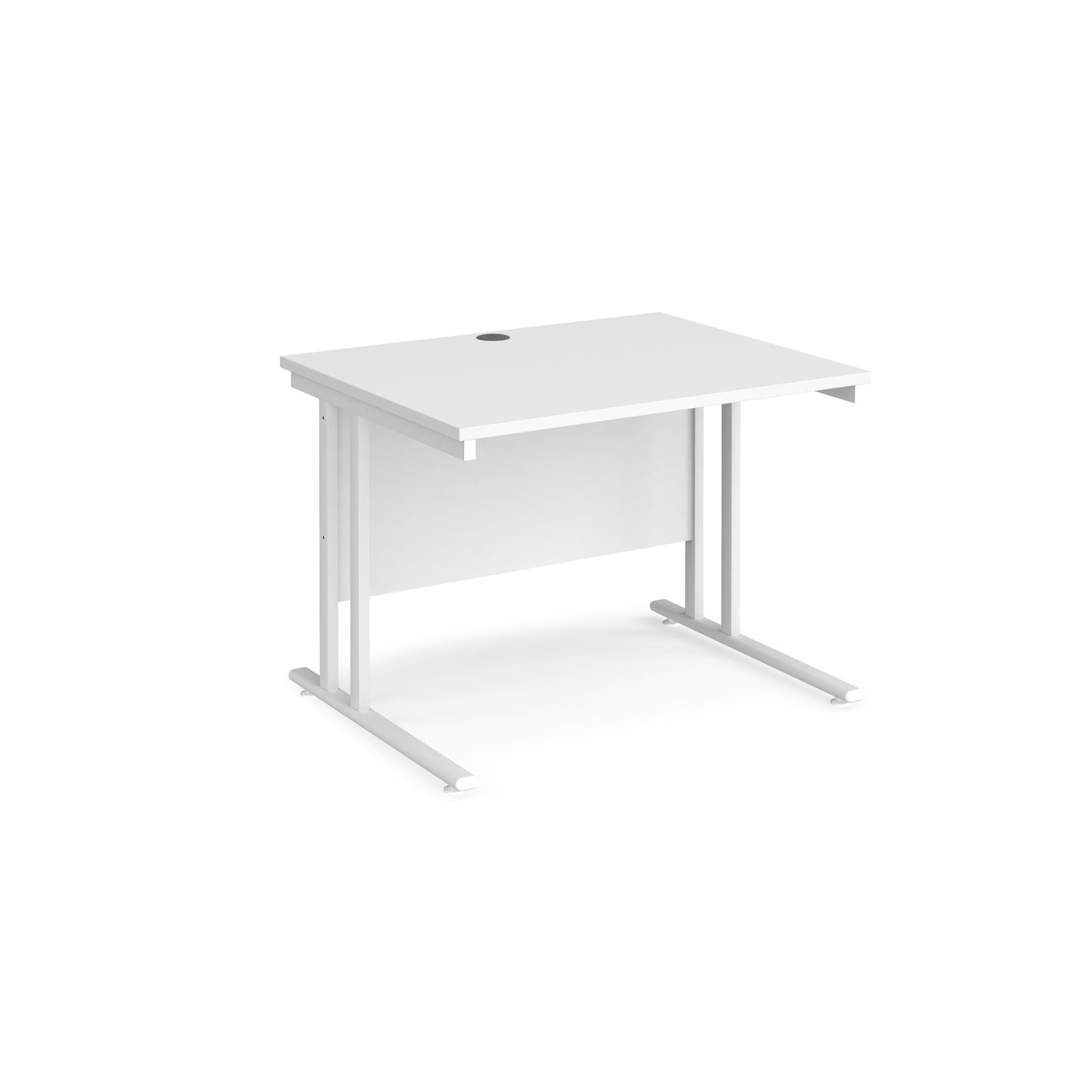 Rectangular Desks Maestro 25 straight desk 1000mm x 800mm - white cantilever leg frame, white top