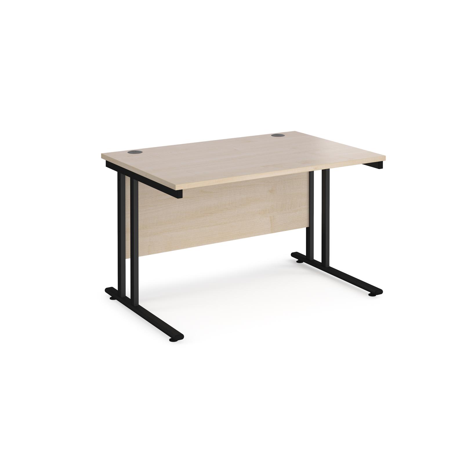 Rectangular Desks Maestro 25 straight desk 1200mm x 800mm - black cantilever leg frame, maple top