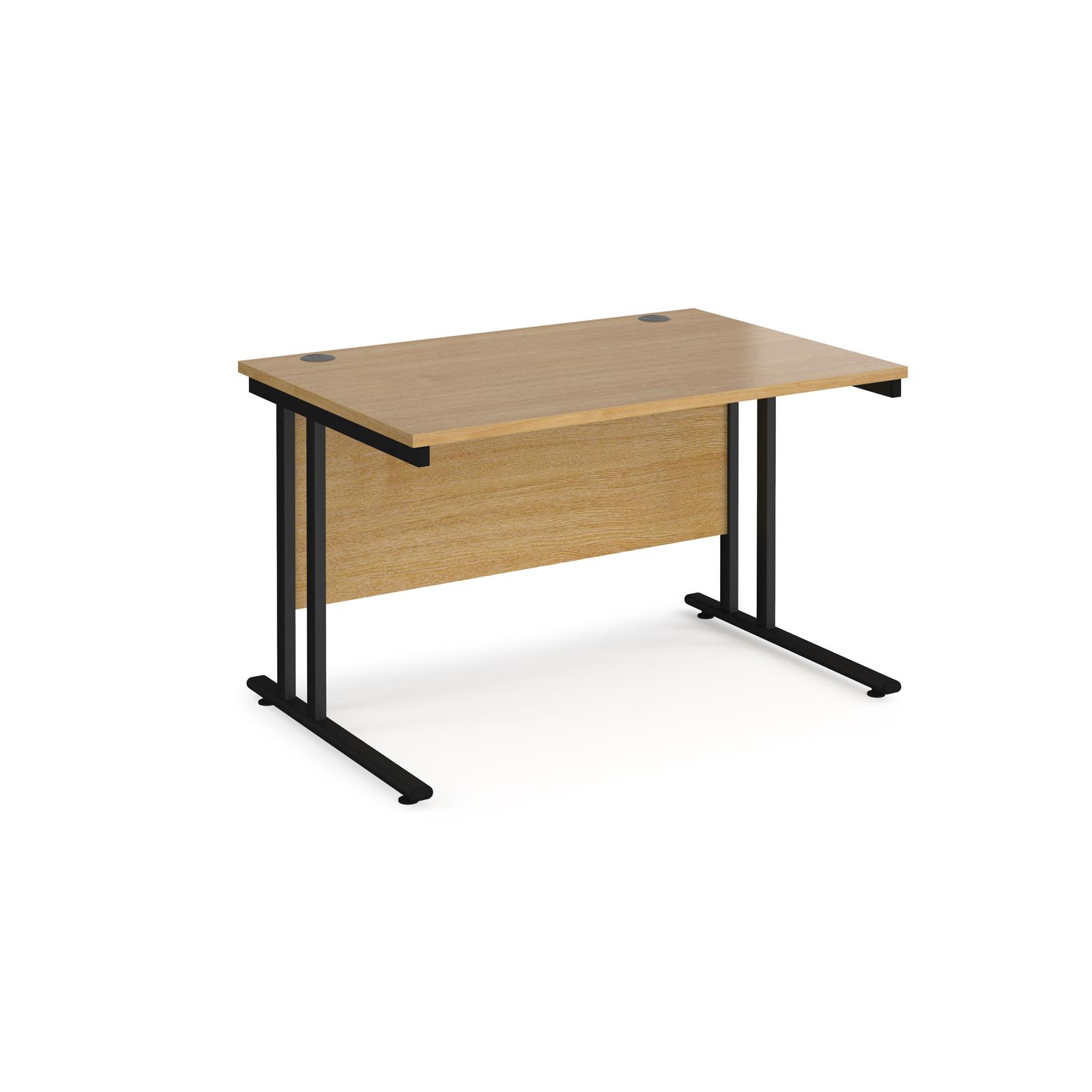 Rectangular Desks Maestro 25 straight desk 1200mm x 800mm - black cantilever leg frame, oak top