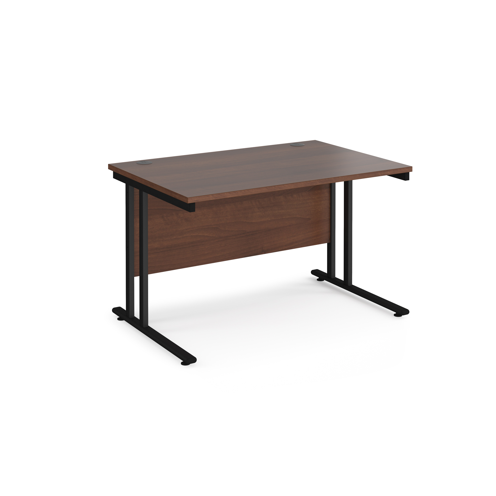 Rectangular Desks Maestro 25 straight desk 1200mm x 800mm - black cantilever leg frame, walnut top