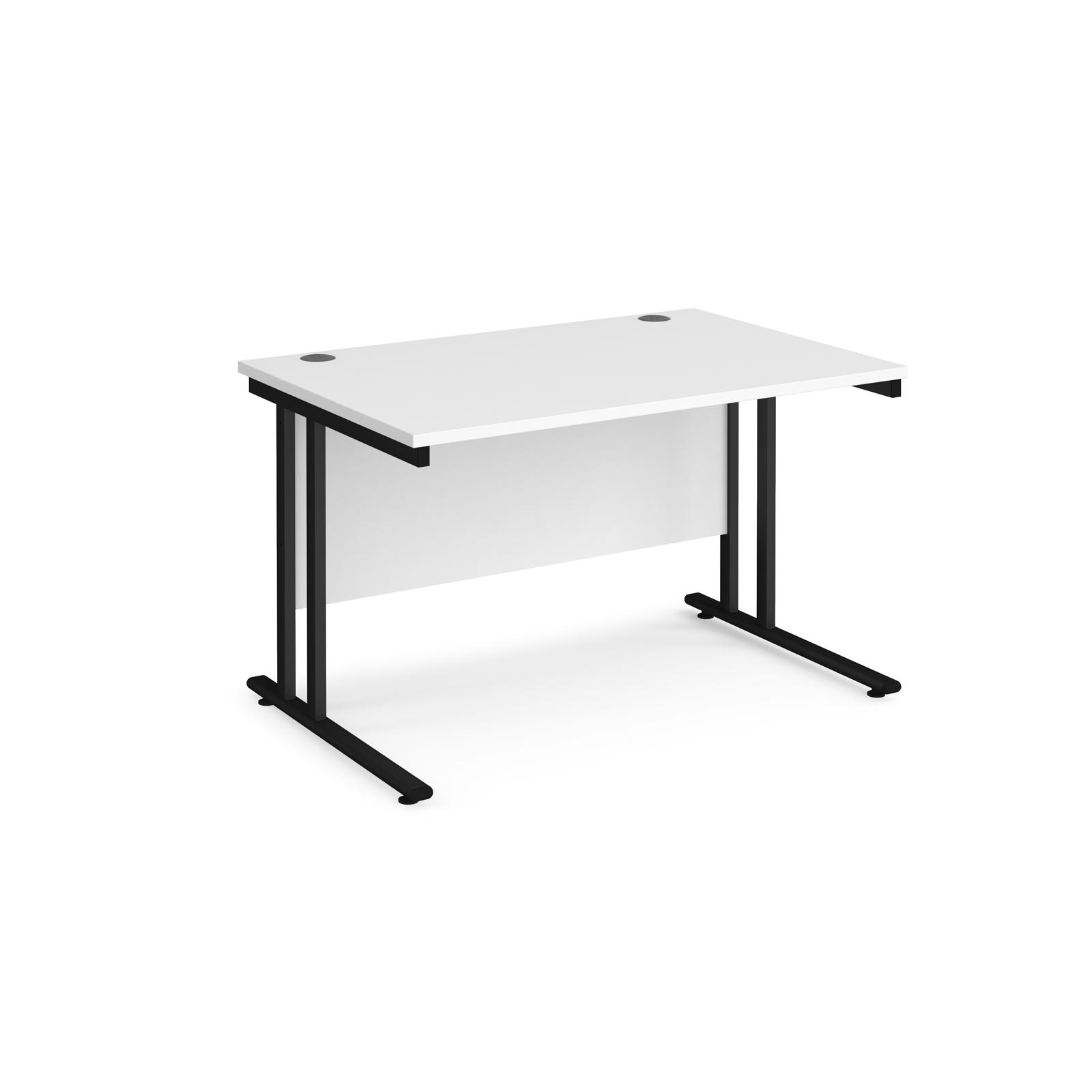 Rectangular Desks Maestro 25 straight desk 1200mm x 800mm - black cantilever leg frame, white top