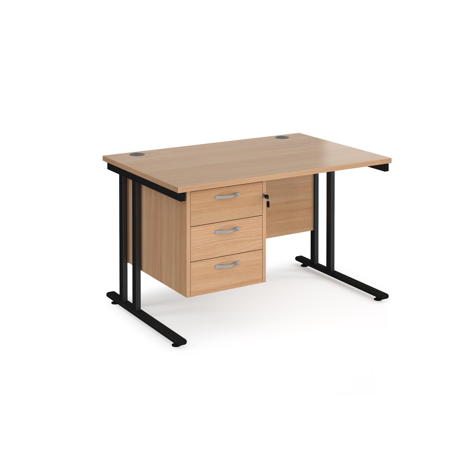 Rectangular Desks Maestro 25 straight desk 1200mm x 800mm with 3 drawer pedestal - black cantilever leg frame, beech top