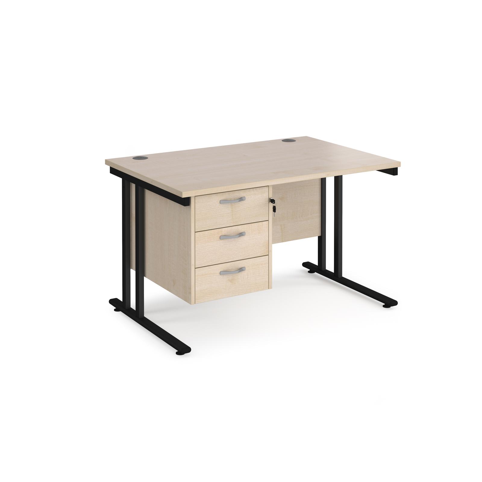 Rectangular Desks Maestro 25 straight desk 1200mm x 800mm with 3 drawer pedestal - black cantilever leg frame, maple top