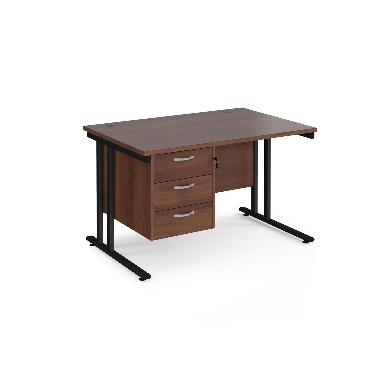 Rectangular Desks Maestro 25 straight desk 1200mm x 800mm with 3 drawer pedestal - black cantilever leg frame, walnut top