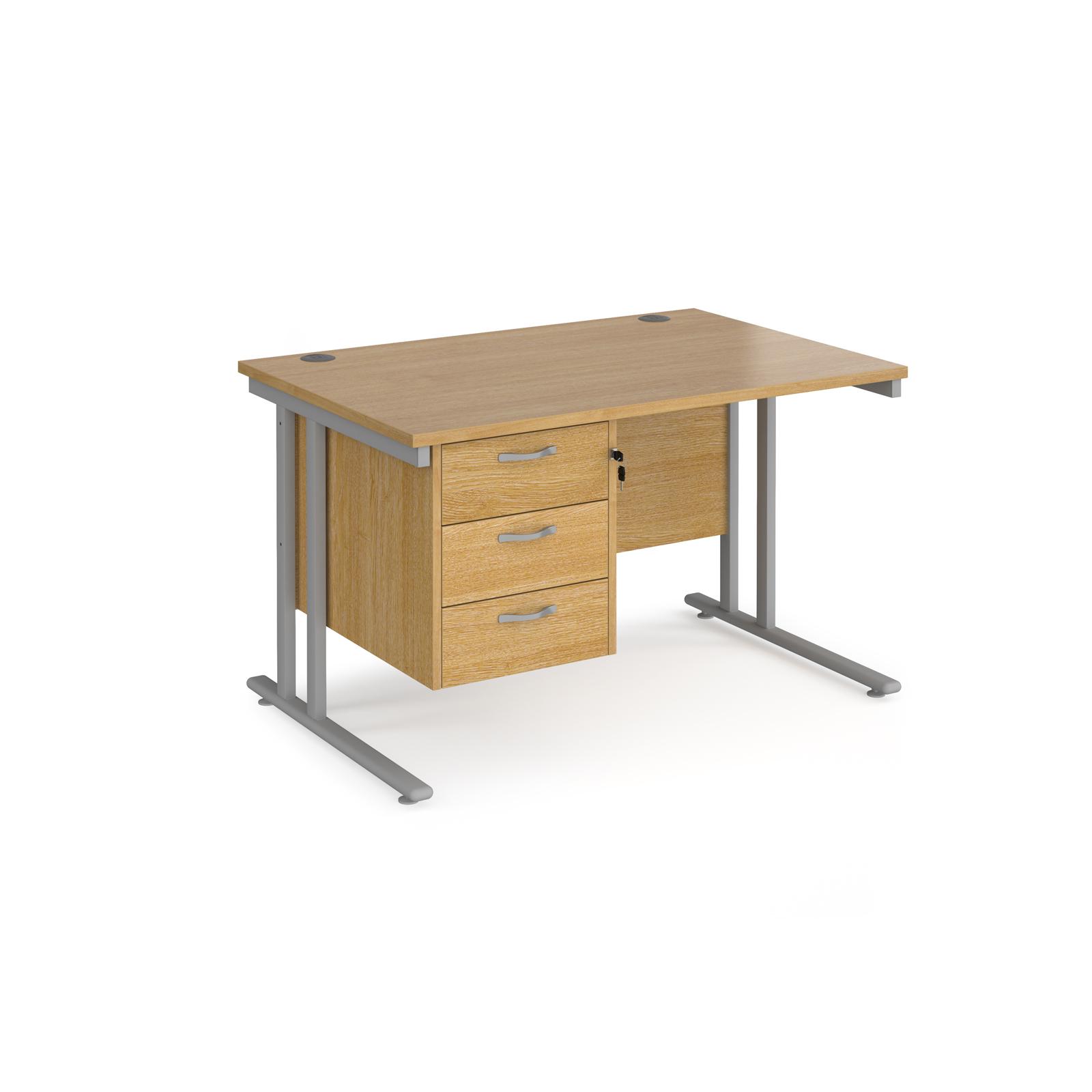 Rectangular Desks Maestro 25 straight desk 1200mm x 800mm with 3 drawer pedestal - silver cantilever leg frame, oak top