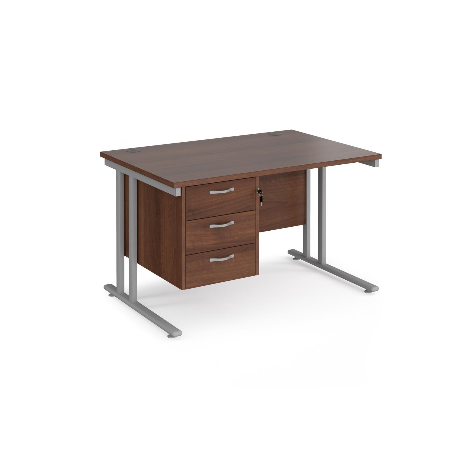 Rectangular Desks Maestro 25 straight desk 1200mm x 800mm with 3 drawer pedestal - silver cantilever leg frame, walnut top